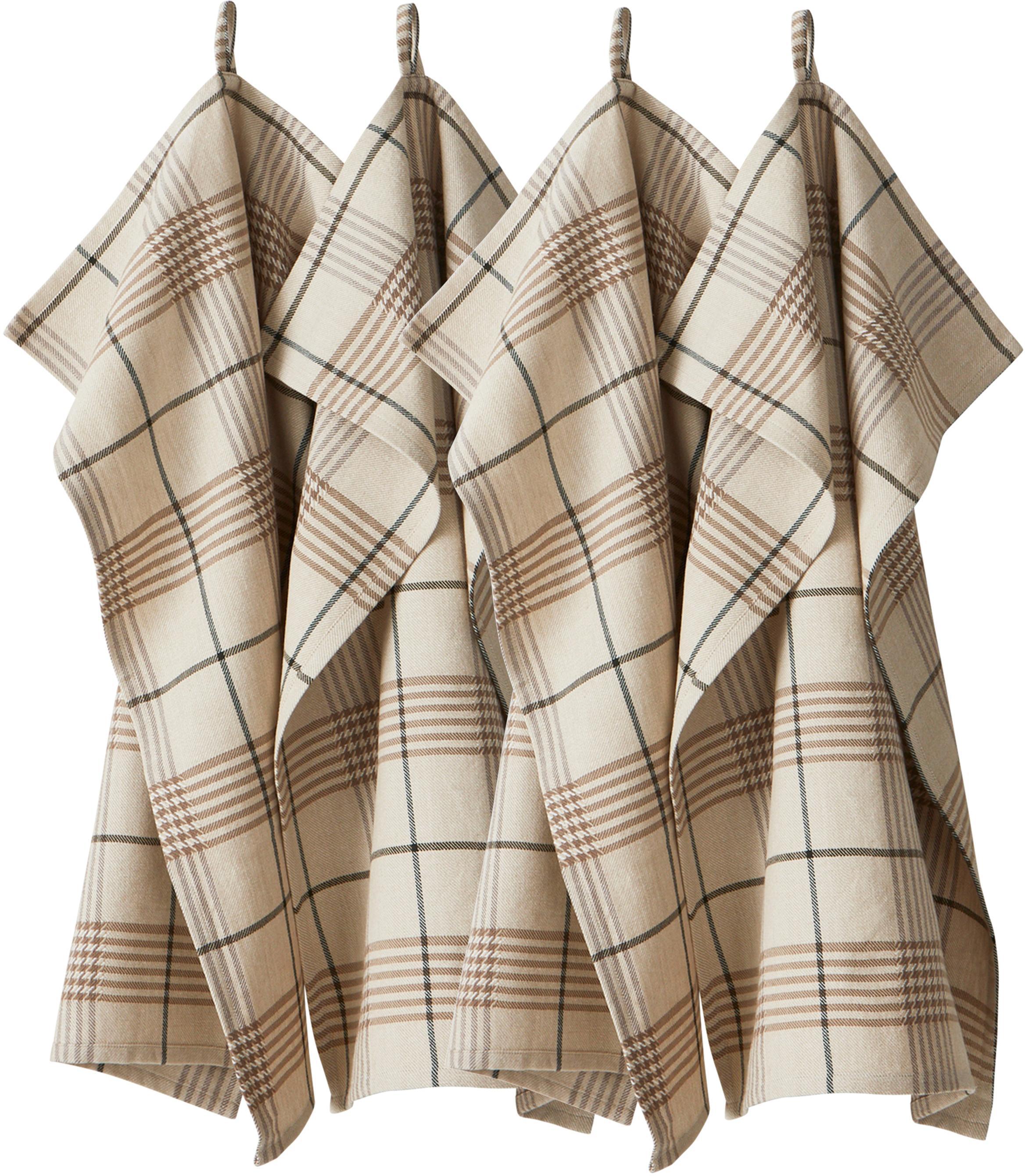 Ręcznik kuchenny Ellery, 4 szt., 100% bawełna pochodząca ze zrównoważonych upraw, Beżowy, odcienie brązowego, S 50 x D 70 cm