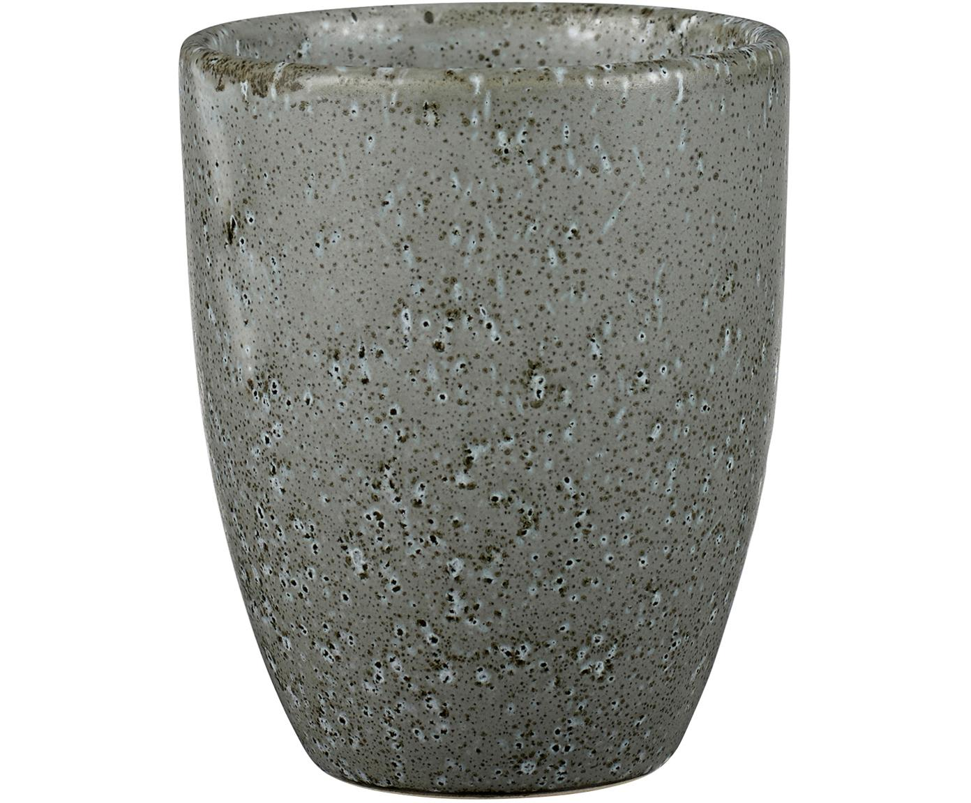 Steingut-Becher Stone mit Sprenkel-Glasur, 2 Stück, Steingut, glasiert, Grau, Ø 8 x H 10 cm