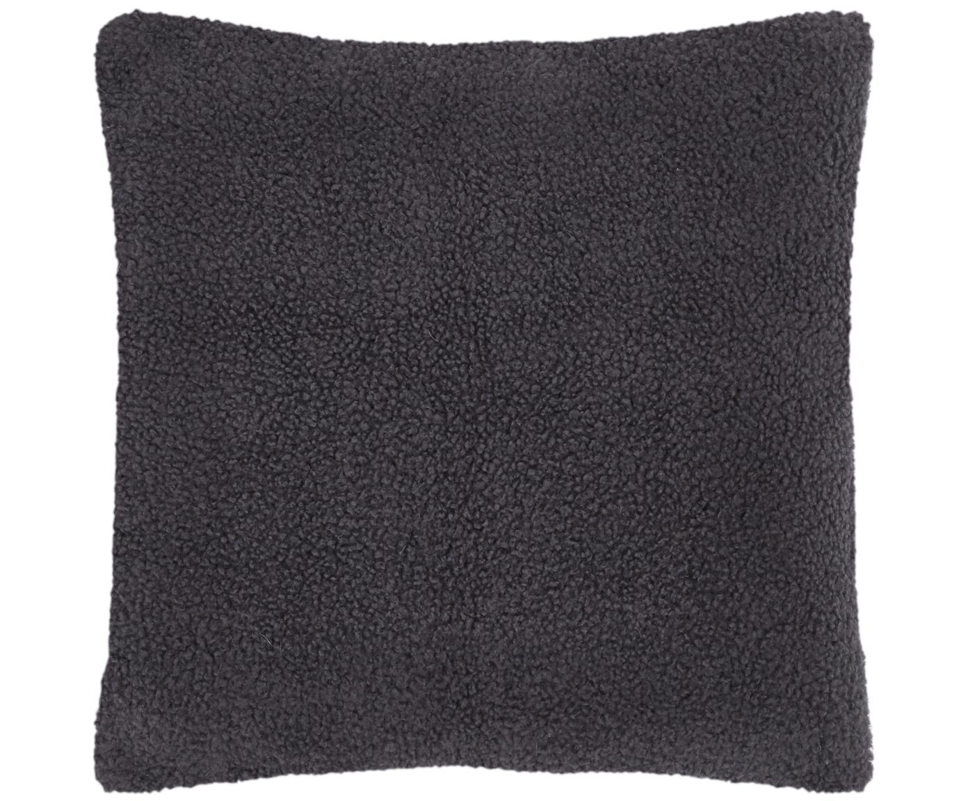 Flauschige Teddy-Kissenhülle Mille, Vorderseite: 100% Polyester (Teddyfell, Rückseite: 100% Polyester (Teddyfell, Dunkelgrau, 60 x 60 cm