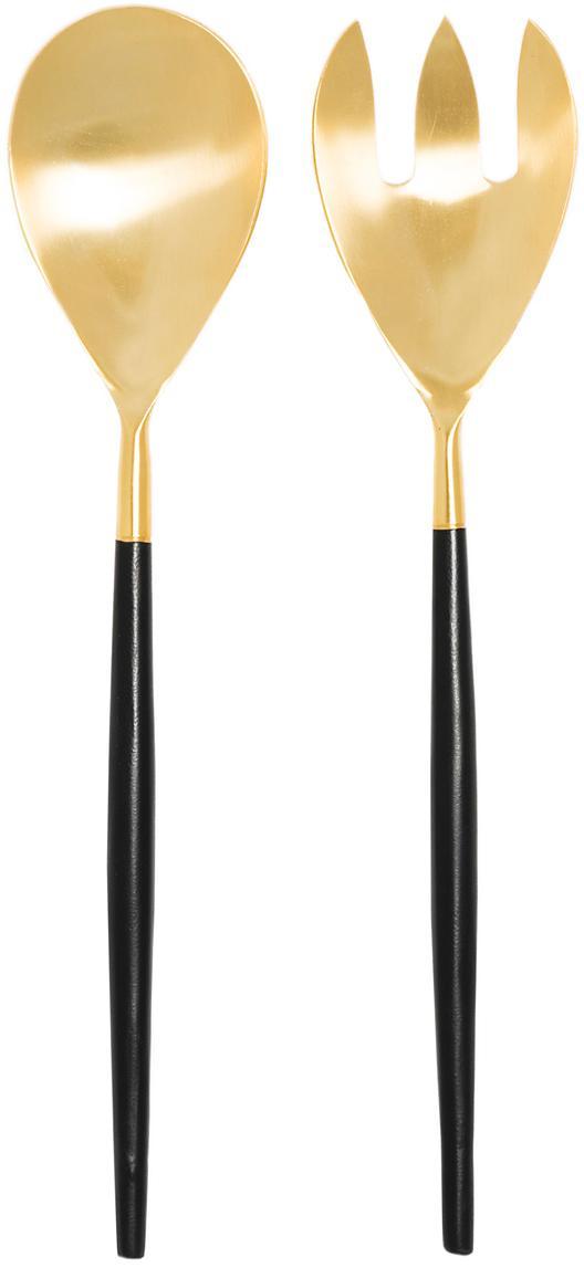Cubiertos para ensalada Lupo, 2pzas., Acero inoxidable recubierto, Negro, dorado, L 30 cm