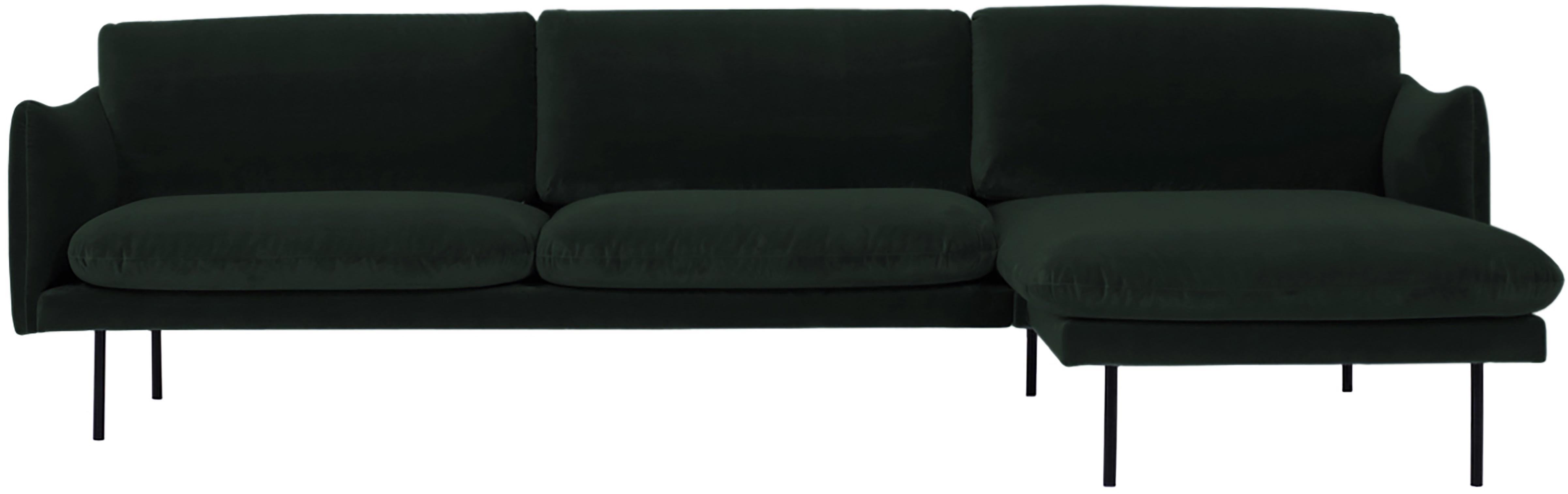 Fluwelen hoekbank Moby, Bekleding: fluweel (hoogwaardige pol, Frame: massief grenenhout, Poten: gepoedercoat metaal, Donkergroen, B 280 x D 160 cm