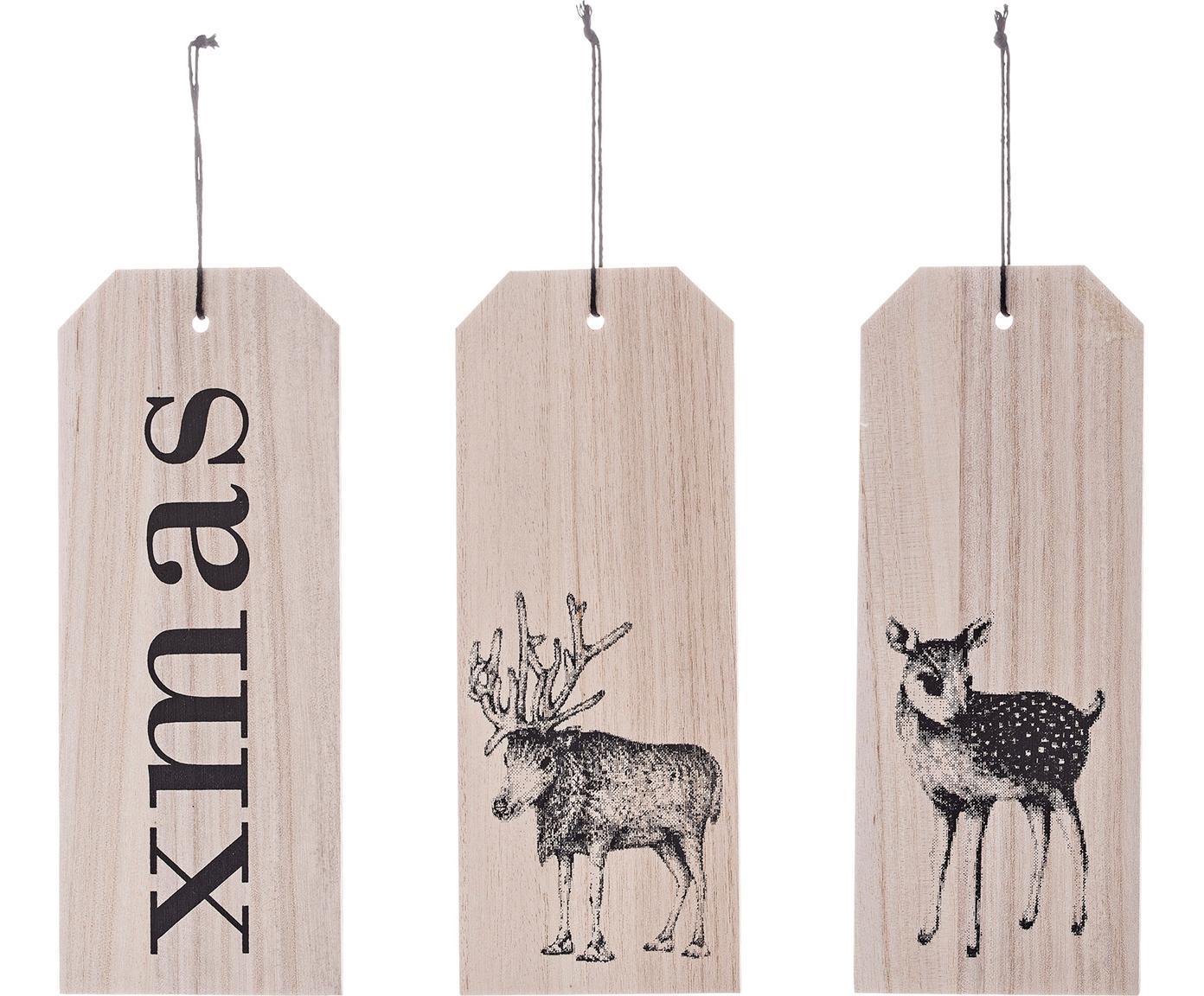 Set 3 etichette regalo Xmas, Legno di Paulownia, Legno, nero, Larg. 8 x Alt. 20 cm