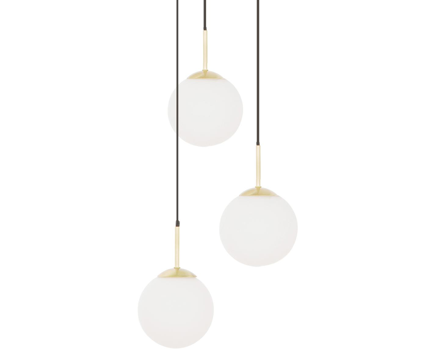 Hanglamp Edie van glas, Wit, messingkleurig, Ø 30 cm