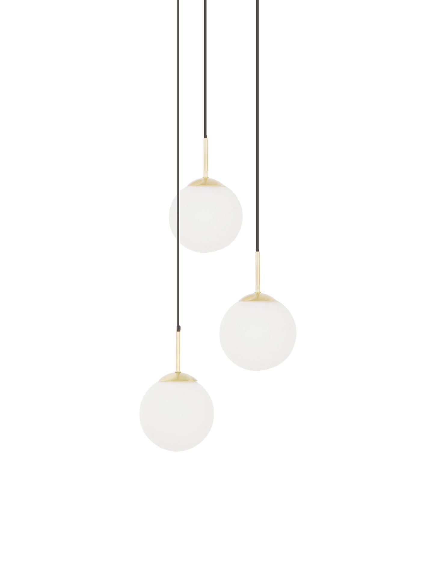 Pendelleuchte Edie aus Glas, Weiss, Messing, Ø 30 cm