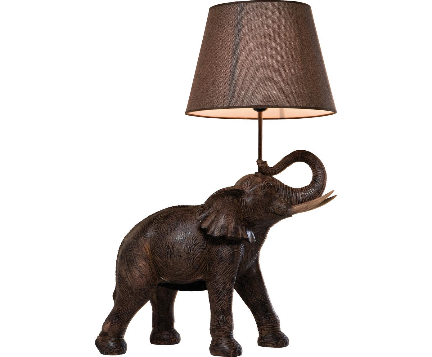 Lámpara de mesa Elephant, Pantalla: lino, Cable: plástico, Gris pardo, marrón, An 52 x Al 74 cm