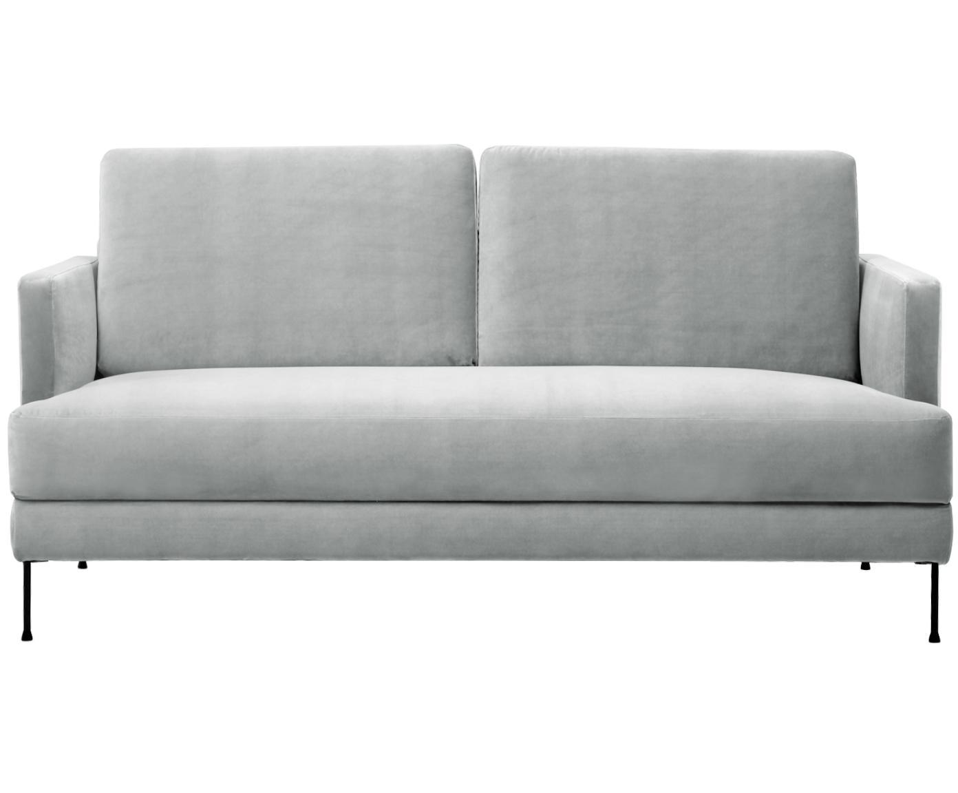 Sofa z aksamitu Fluente (2-osobowa), Tapicerka: aksamit (wysokiej jakości, Stelaż: lite drewno sosnowe, Nogi: metal lakierowany, Aksamitny jasny szary, S 168 x G 83 cm