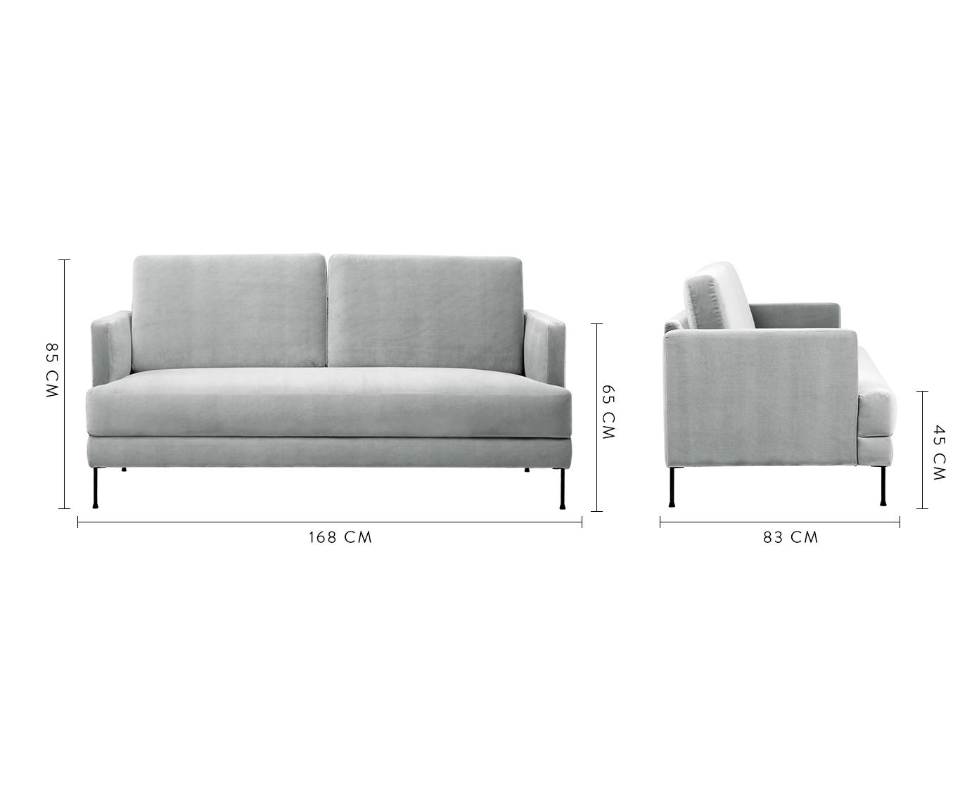 Samt-Sofa Fluente (2-Sitzer), Bezug: Samt (Hochwertiger Polyes, Gestell: Massives Kiefernholz, Füße: Metall, lackiert, Samt Hellgrau, B 168 x T 83 cm