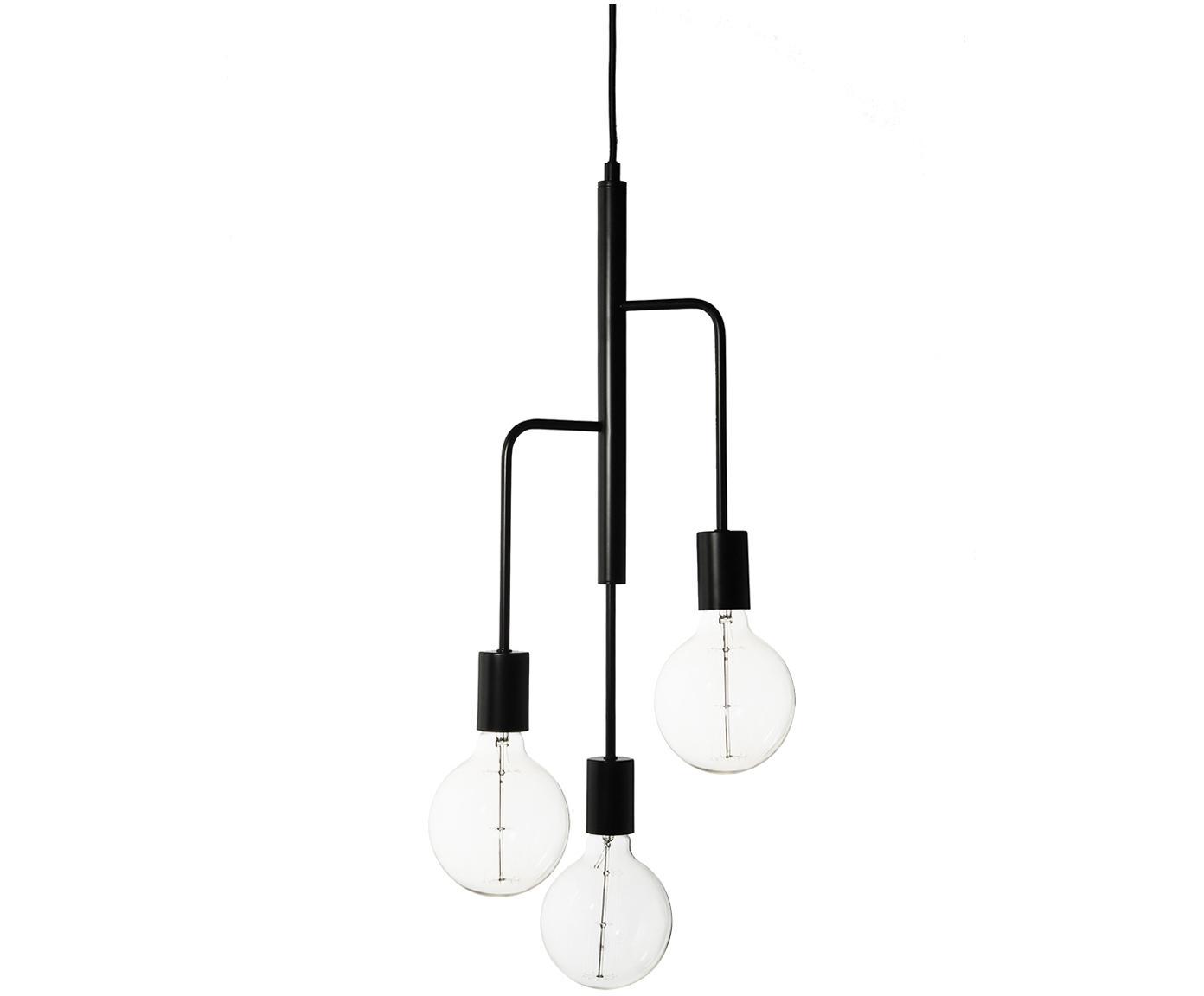 Scandi hanglamp Cool, Gelakt metaal, Mat zwart, Ø 25 x H 60 cm
