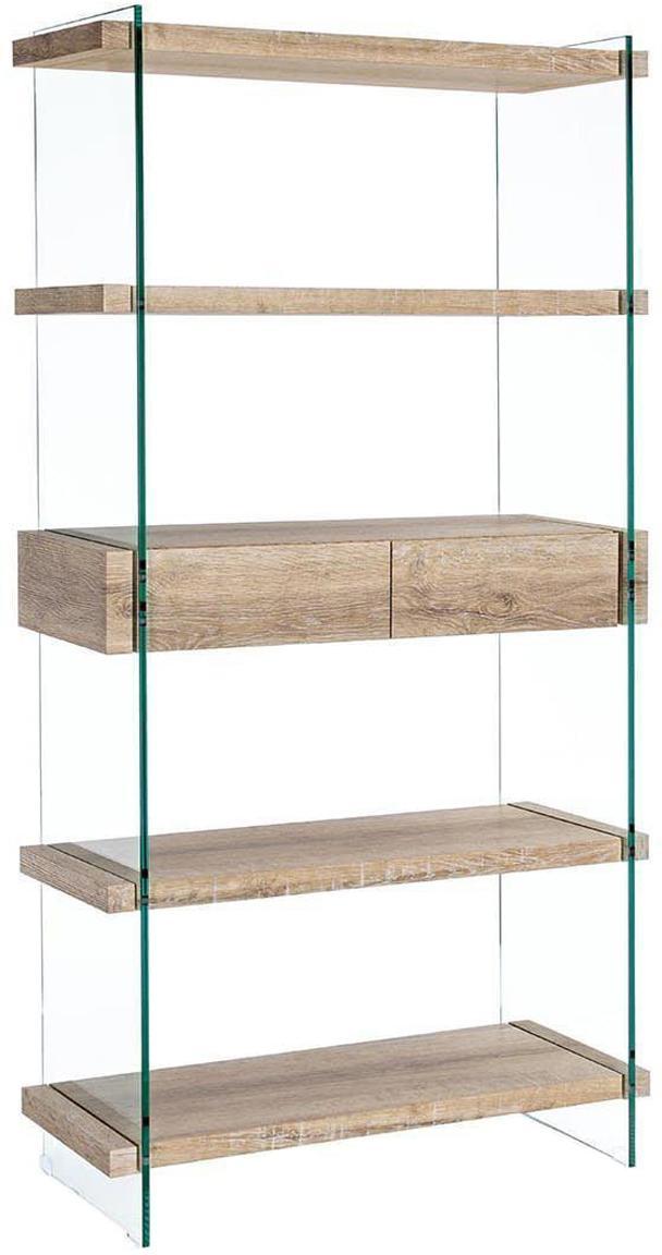 Estantería Kenya, Estructura: tablero de fibras de dens, Beige, transparente, An 90 x Al 180 cm