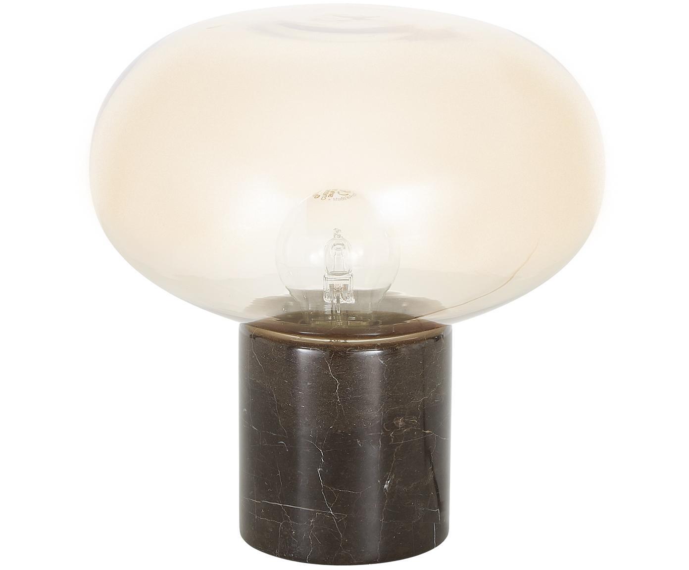 Lámpara de mesa de mármol Alma, Pantalla: vidrio, Cable: cubierto en tela, Base: mármol marrón Pantalla: ámbar, transparente Cable: negro, Ø 23 x Al 24 cm