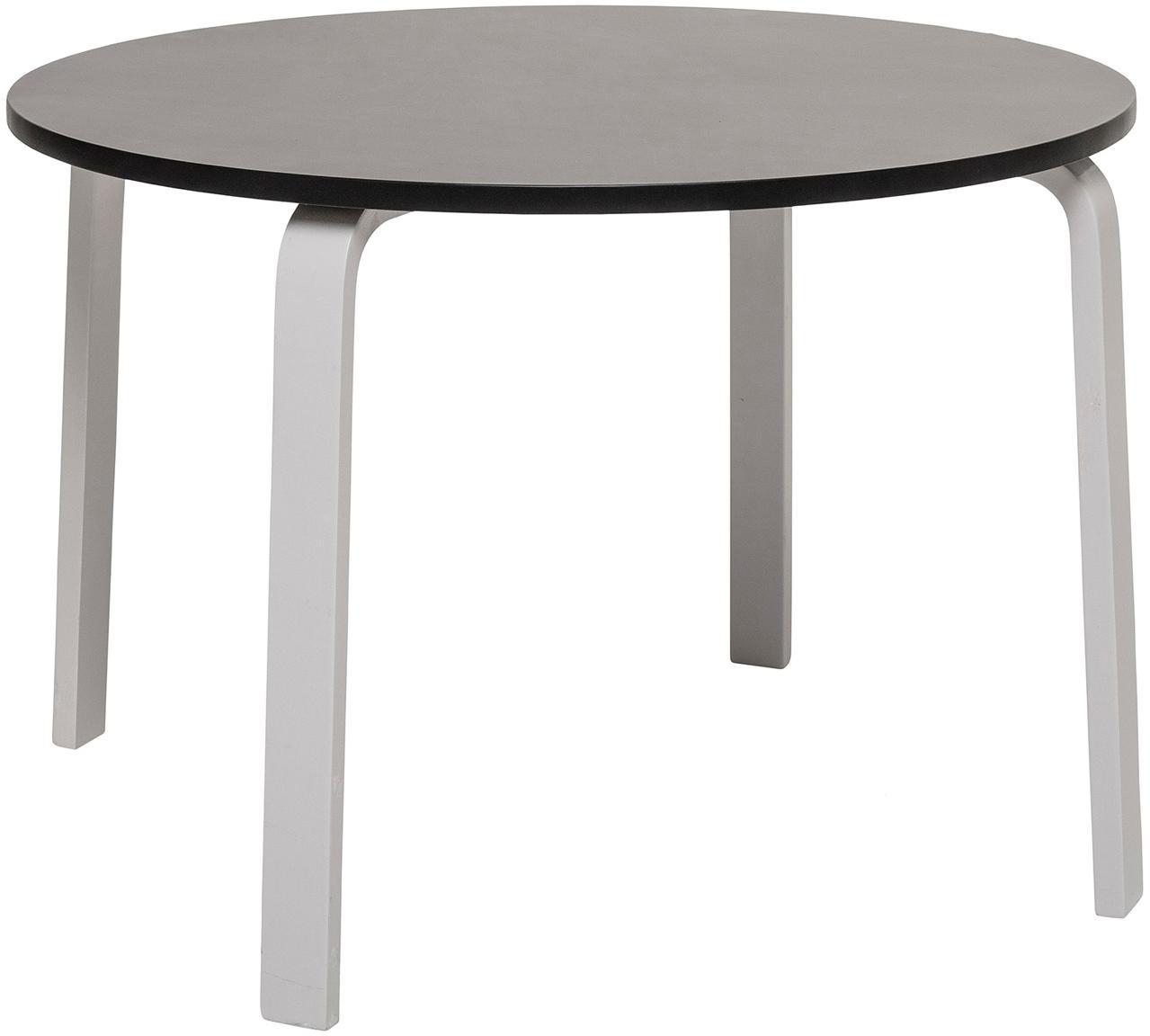Tavolino per bambini rotondo Simply, Pannello di fibra a media densità (MDF) verniciato, Nero, bianco, Ø 65 x Alt. 45 cm