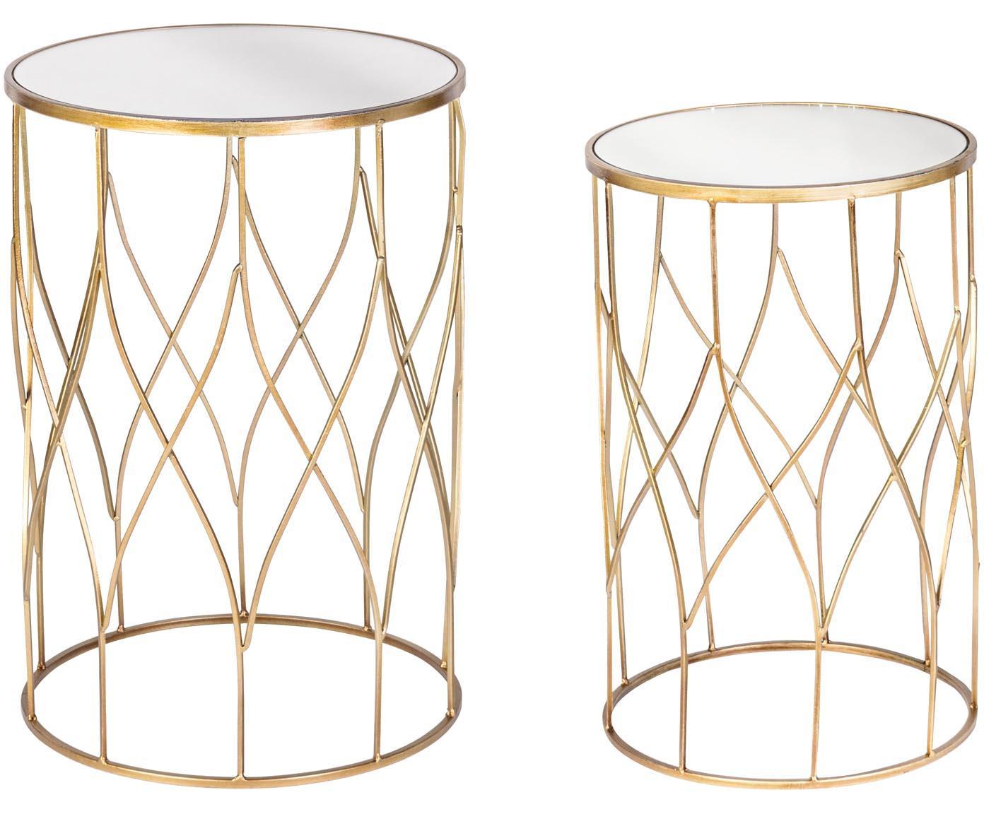 Set de mesas auxiliares de madera Elenor Large, 2uds., Estructura: metal, pintura en polvo y, Tablero: espejo de cristal, Estructura: dorado Tablero: espejo de cristal, Tamaños diferentes