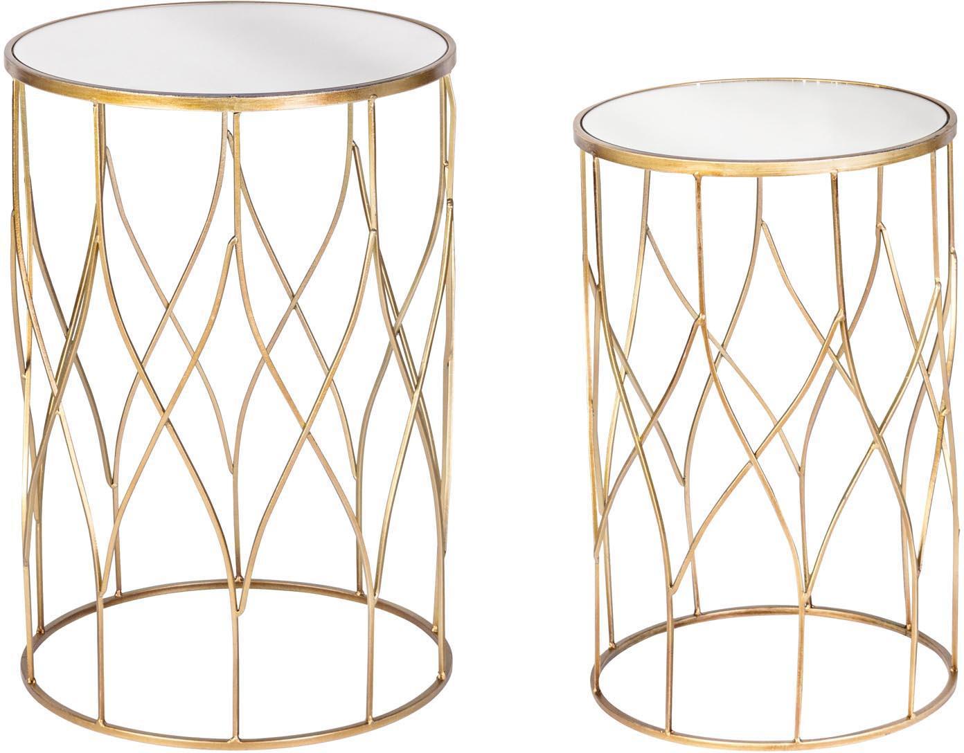 Komplet stolików pomocniczych Elenor Large, 2 elem., Stelaż: metal malowany proszkowo , Blat: szkło lustrzane, Stelaż: odcienie złotego Blat: szkło lustrzane, Komplet z różnymi rozmiarami
