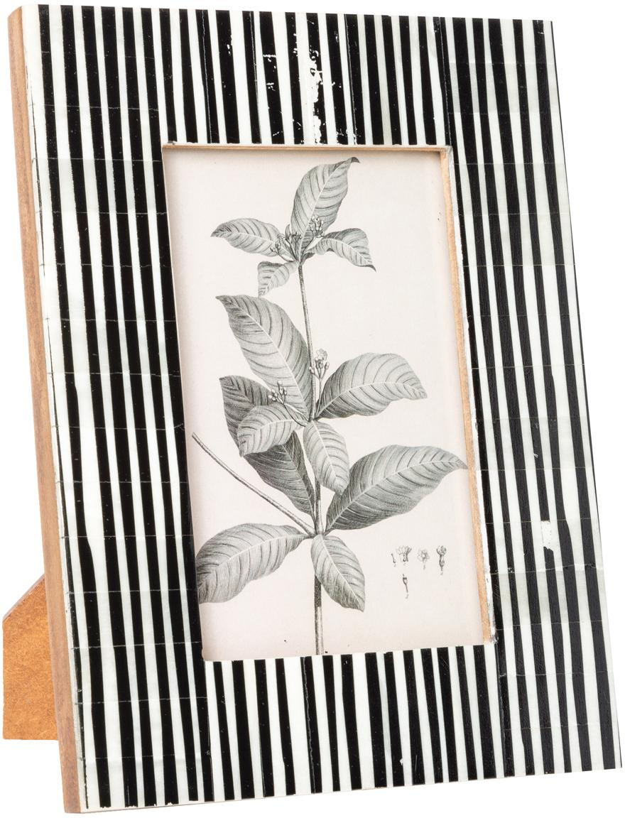 Bilderrahmen Stripe, Rahmen: Büffelknochen, Front: Glas, Rückseite: Mitteldichte Holzfaserpla, Schwarz, Weiss, 10 x 15 cm