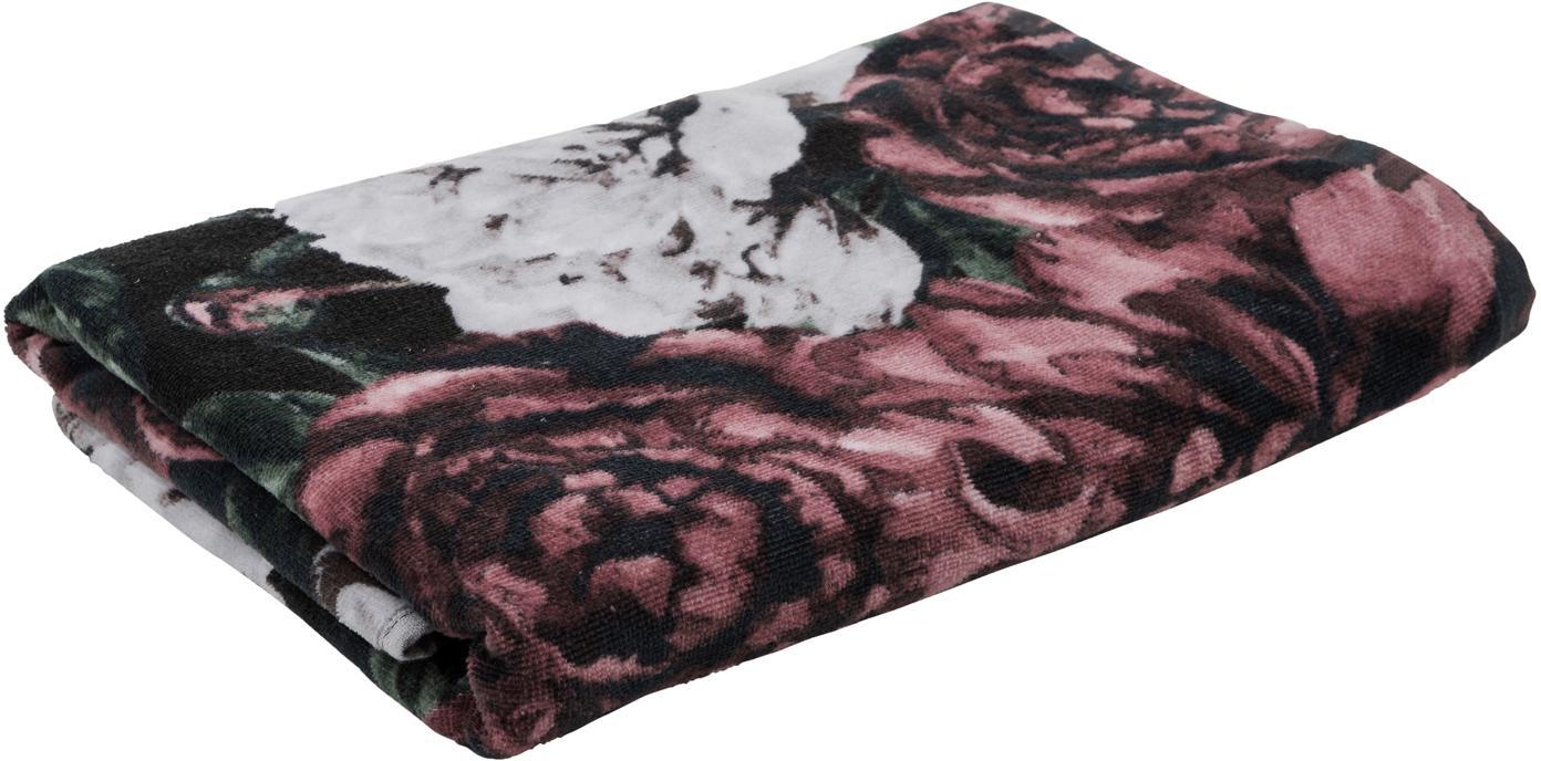 Asciugamano con motivo floreale Allison, Rosso, verde, bianco, nero, Asciugamano