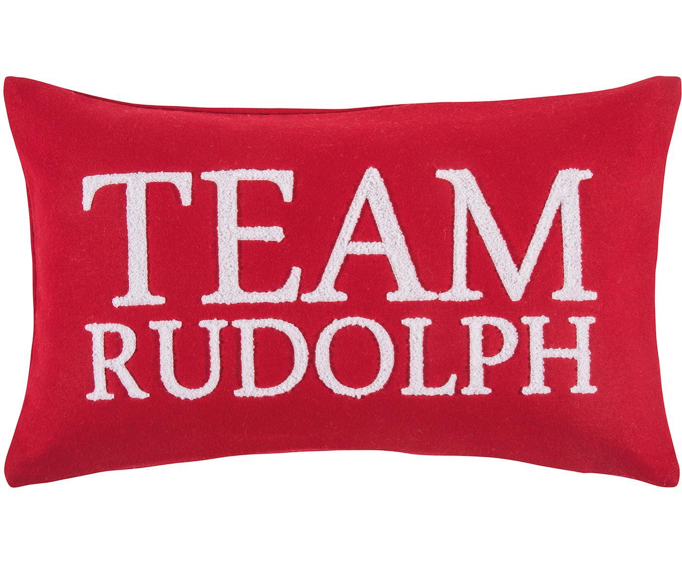 Kissenhülle Rudolph mit erhabener Aufschrift, 60% Wolle, 40% Polyester, Rot, Weiss, 30 x 50 cm