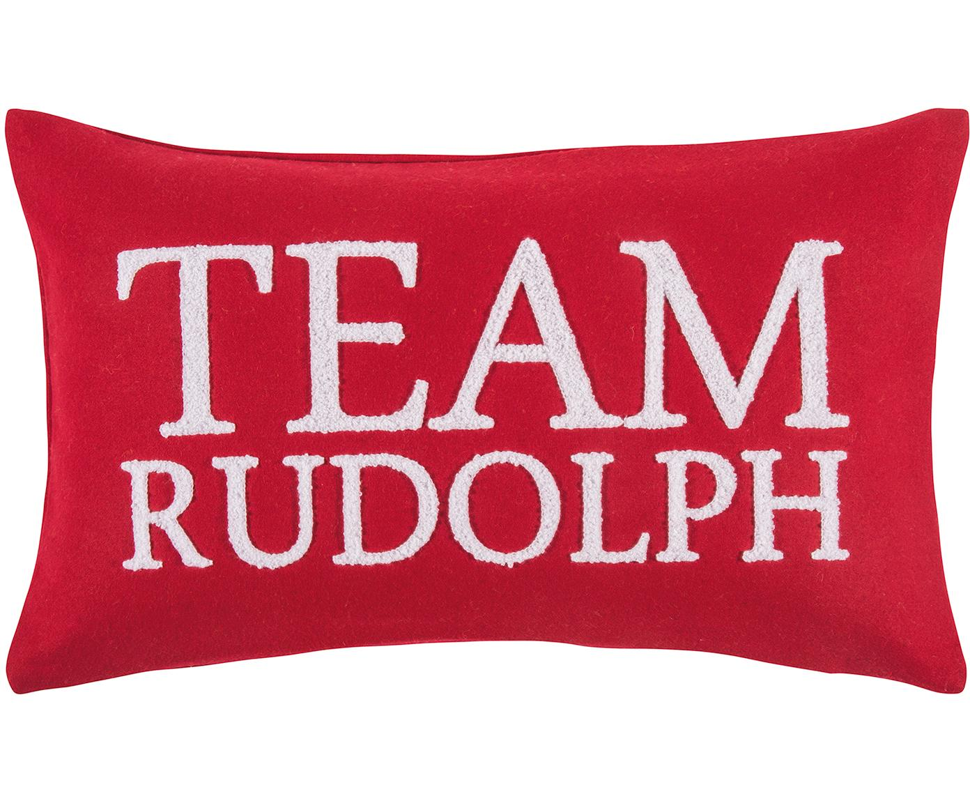 Kussenhoes Rudolph met reliëfopschrift, 60% wol, 40% polyester, Rood, wit, 30 x 50 cm