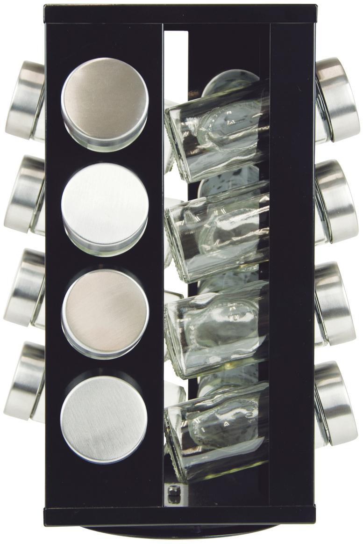 Kruidenrek Soho, 17-delig, Glas, metaal, kunststof, edelstaal, Zwart, transparant, zilverkleurig, 18 x 29 cm