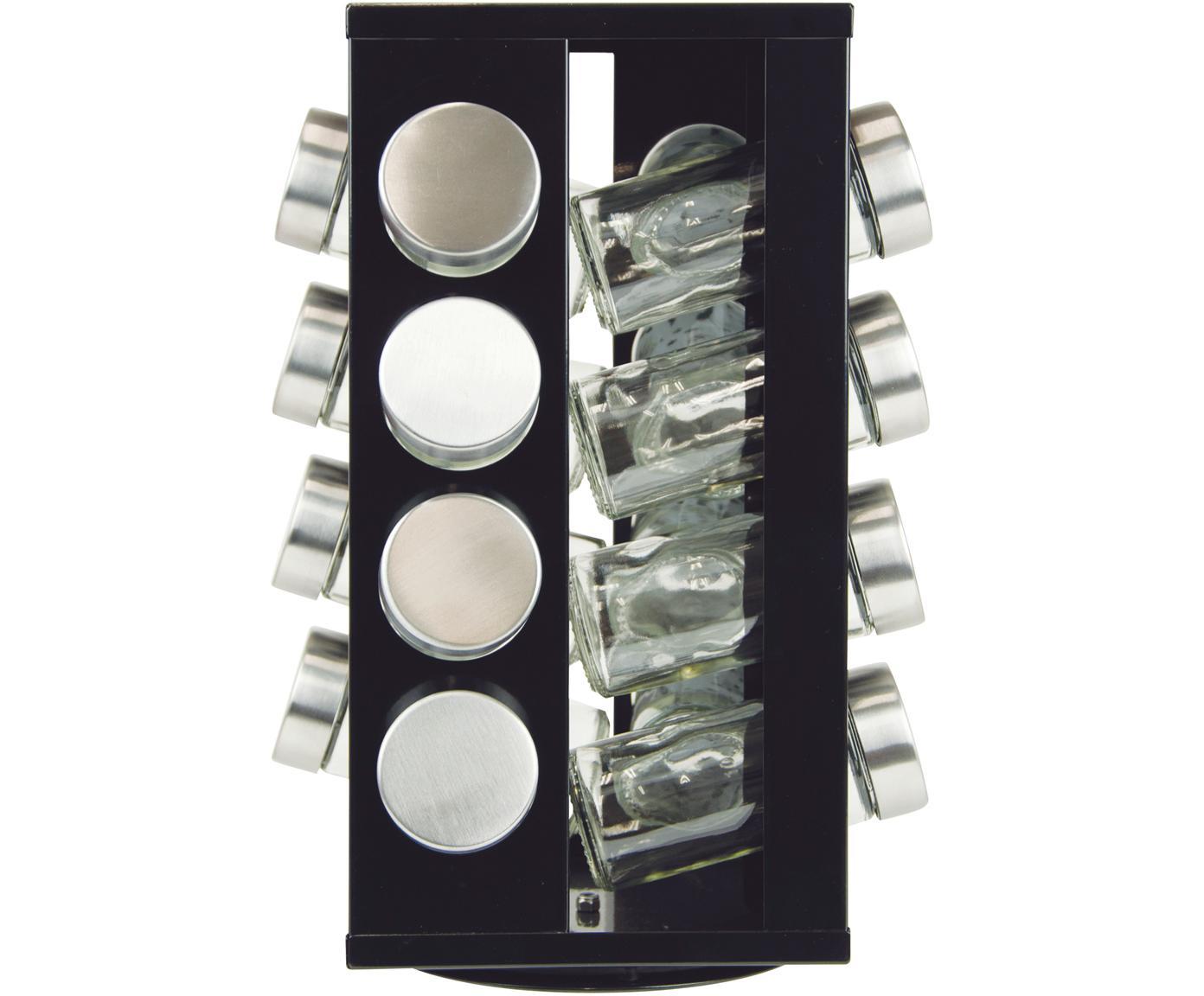 Drehbares Gewürzregal Soho mit Aufbewahrungsdosen, 17-tlg., Gestell: Metall, beschichtet, Kuns, Schwarz, Edelstahl, 18 x 29 cm