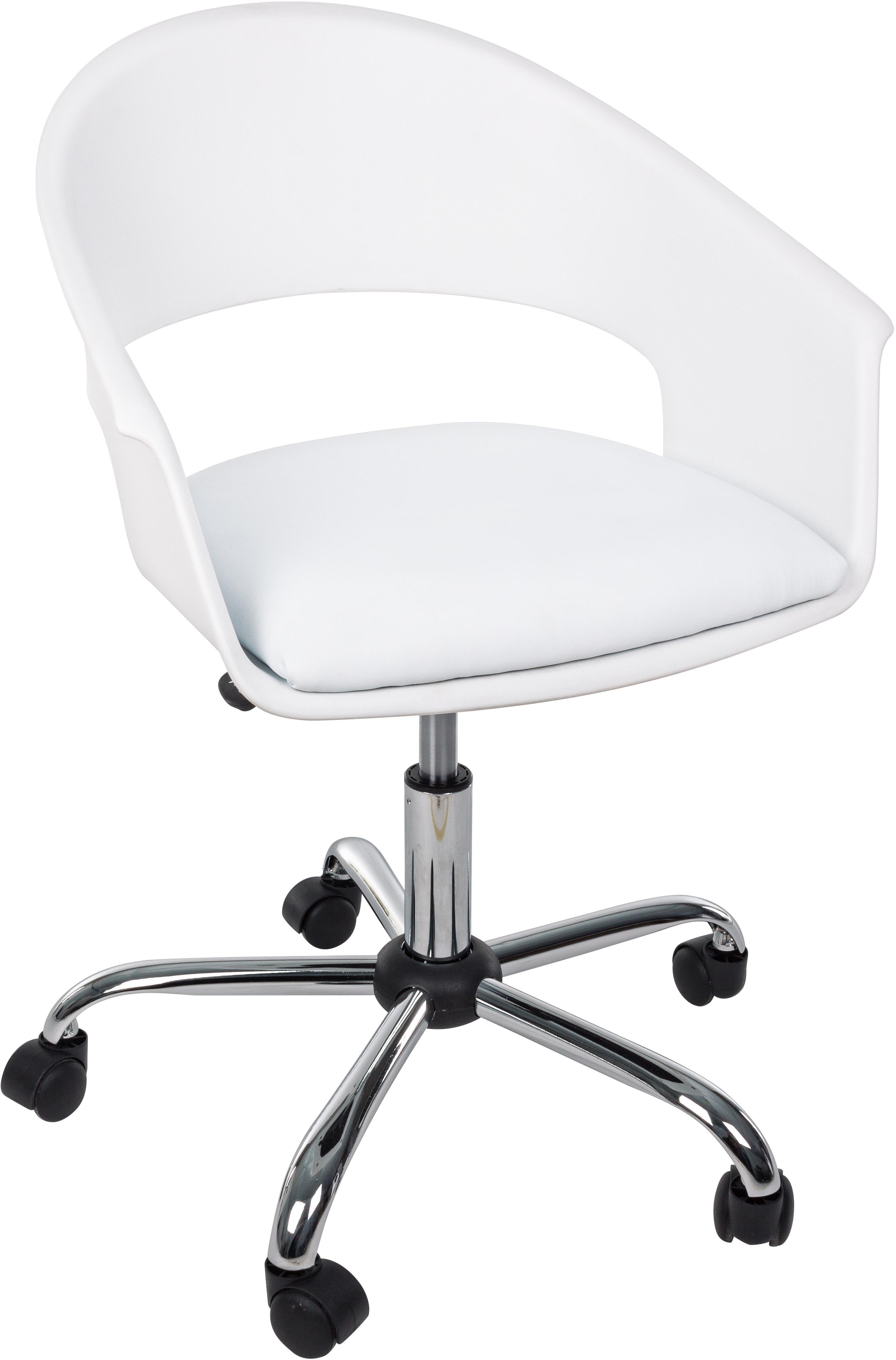 Sedia da ufficio girevole Wells, Seduta: similpelle, Struttura: metallo cromato, Ruote: plastica, Bianco, Larg. 50 x Prof. 58 cm