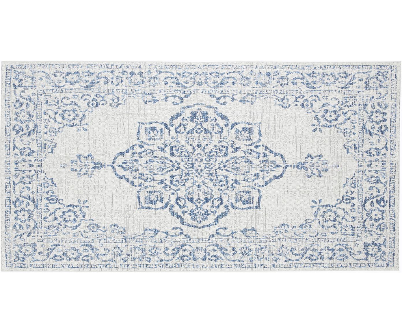 In- & outdoor vloerkleed Navarino blauw in vintage look, Polypropyleen, Crèmekleurig, blauw, B 80 x L 150 cm (maat XS)