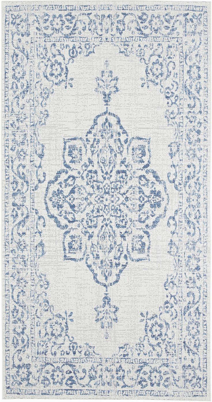 In- & Outdoor-Teppich Navarino Blue im Vintage Look, 100% Polypropylen, Cremefarben, Blau, B 80 x L 150 cm (Größe XS)