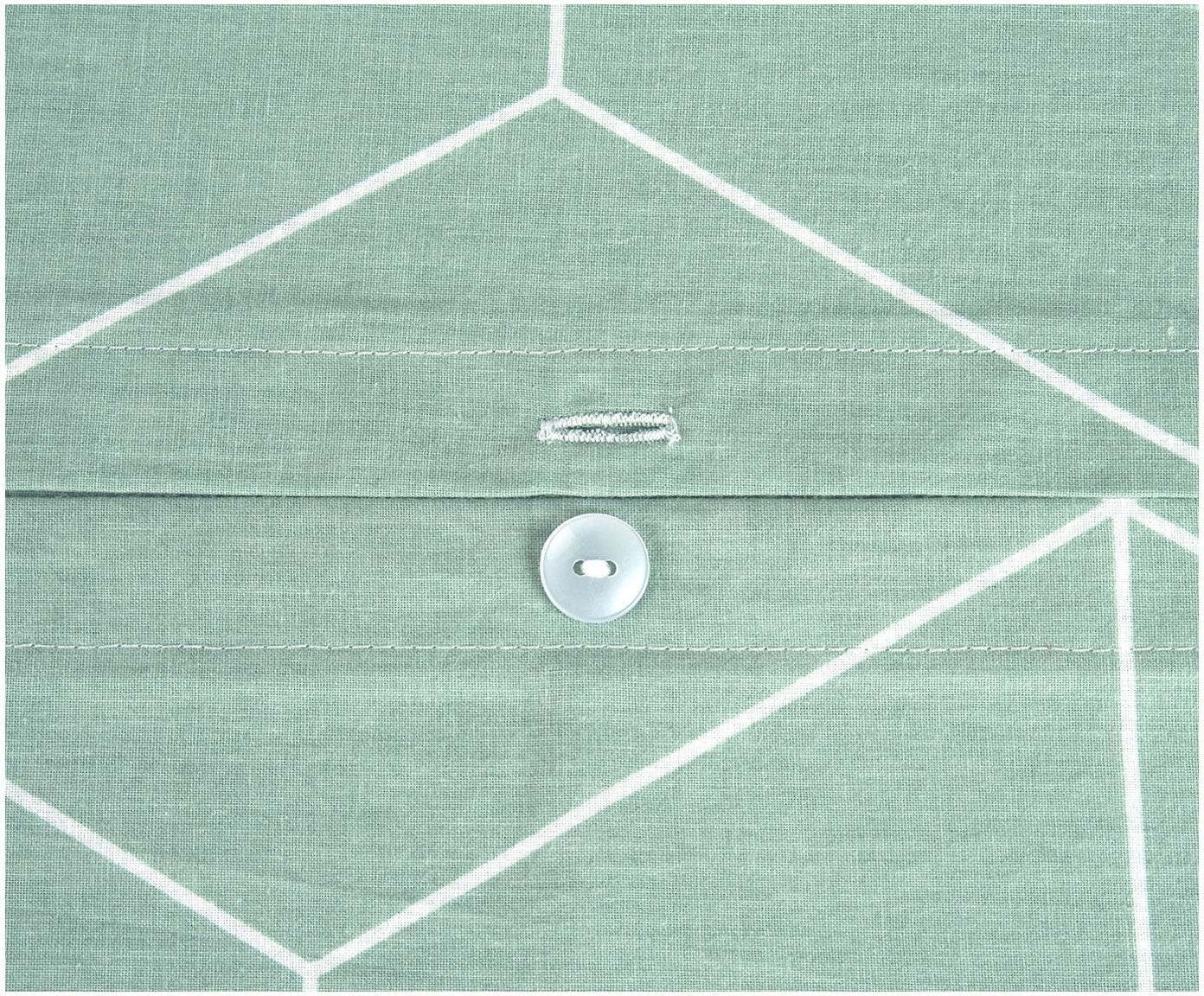 Pościel z bawełny renforcé Lynn, Miętowy, kremowobiały, 135 x 200 cm