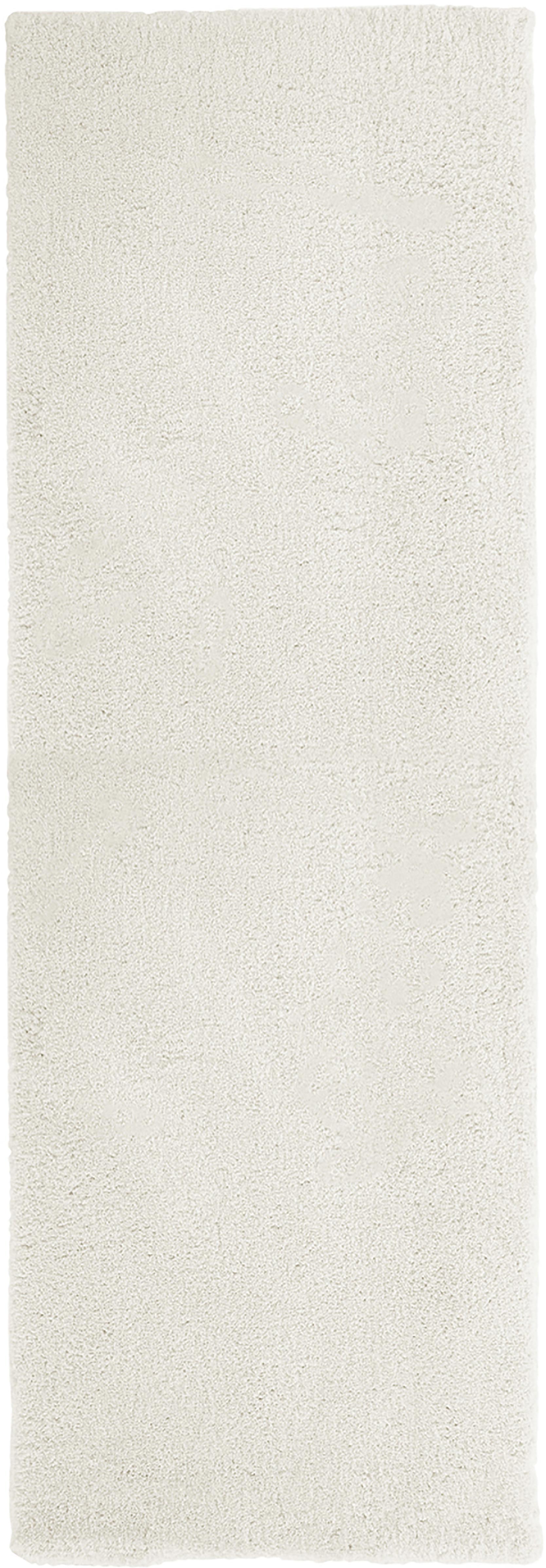Passatoia pelosa morbida color crema Leighton, Retro: 70% poliestere, 30% coton, Crema, Larg. 80 x Lung. 250 cm