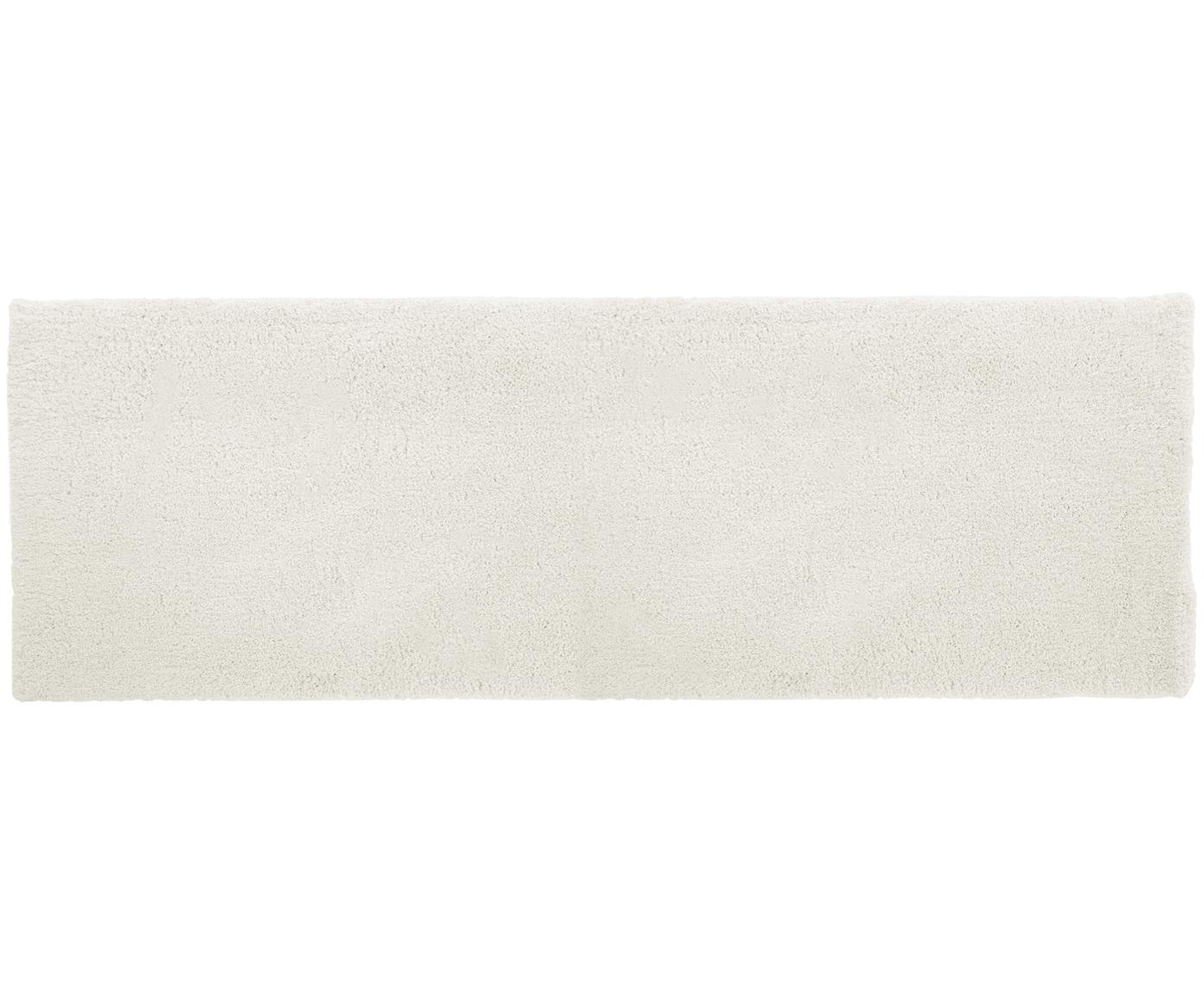 Passatoia pelosa morbida color crema Leighton, Retro: 100% poliestere, Crema, Larg. 80 x Lung. 250 cm