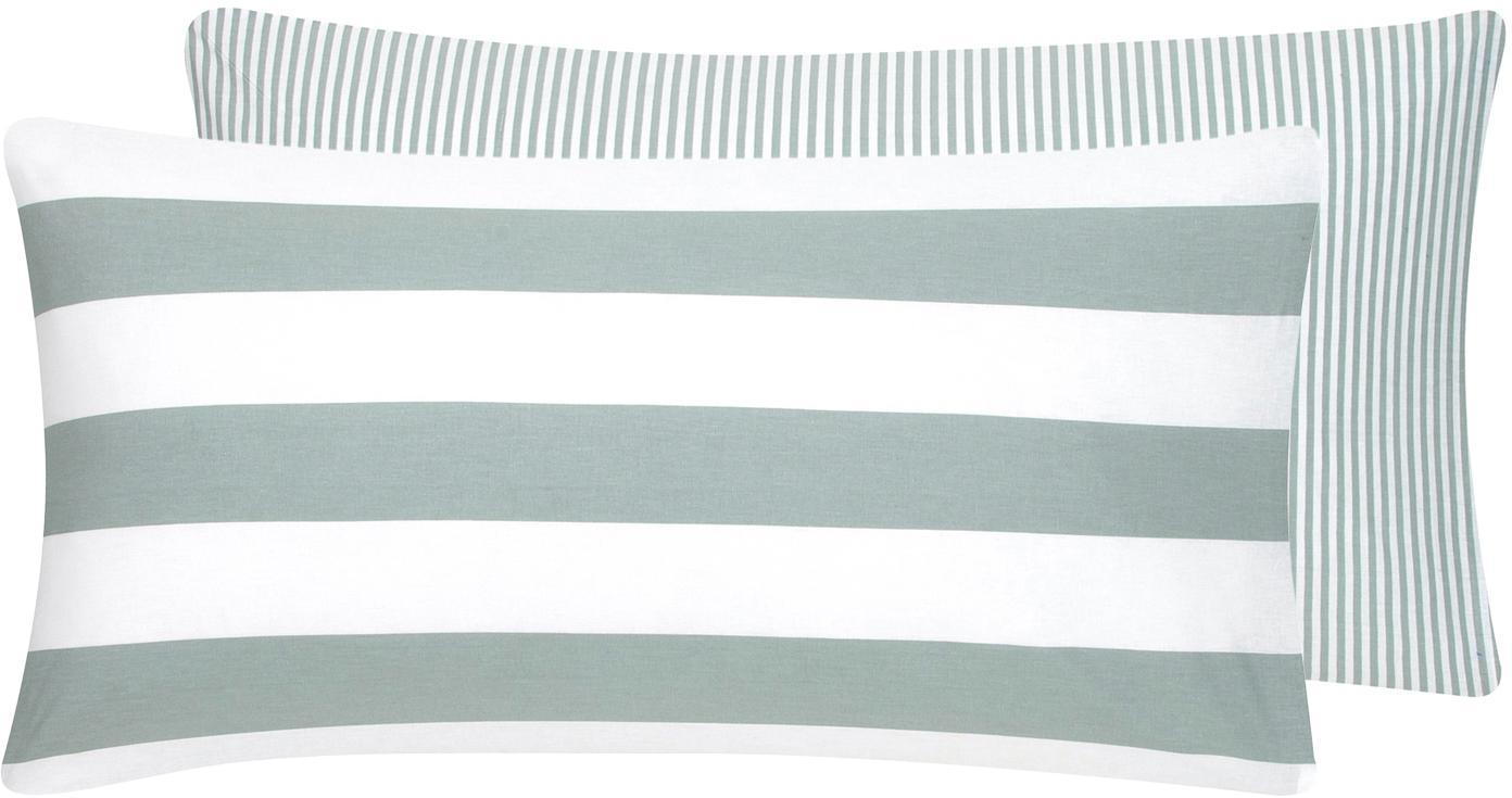 Gestreifte Baumwoll-Wendekissenbezüge Lorena, 2 Stück, Webart: Renforcé Fadendichte 144 , Salbeigrün, Weiß, 40 x 80 cm