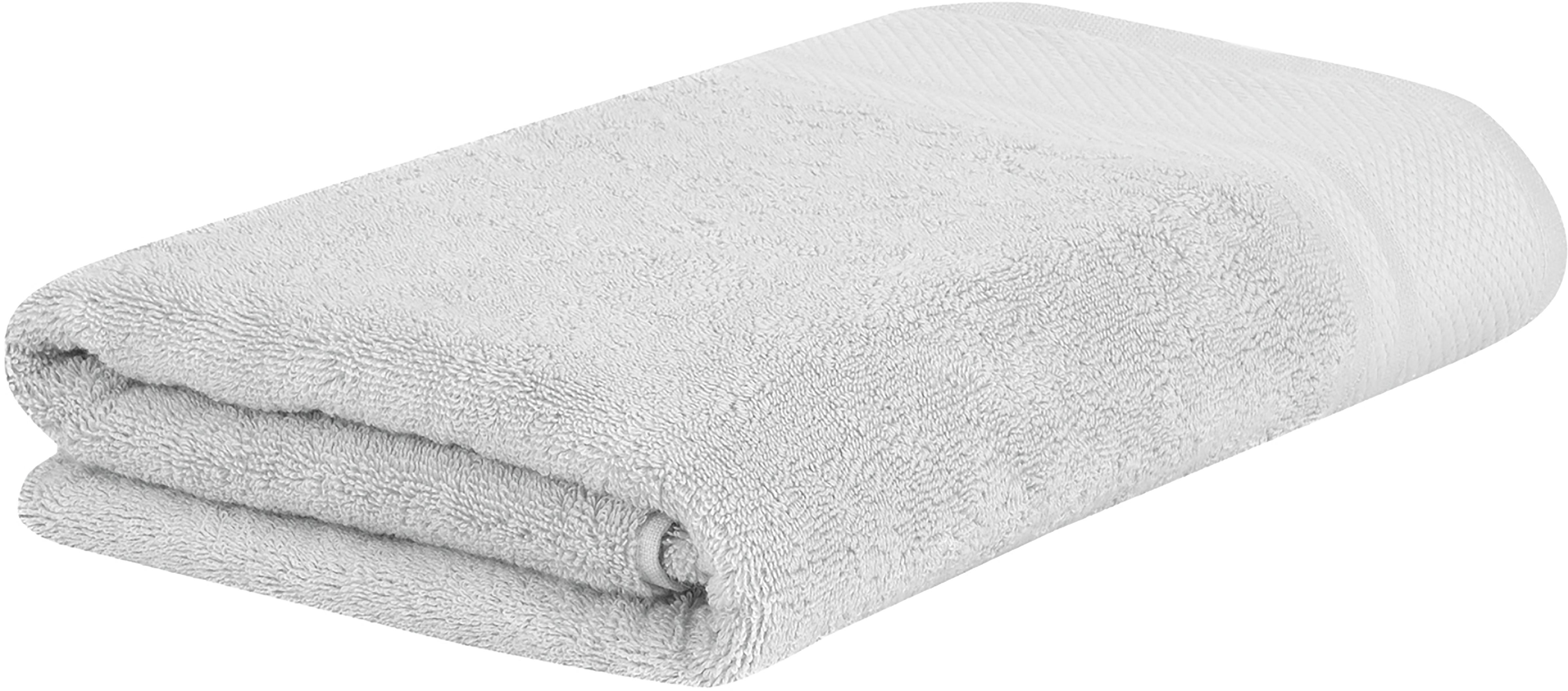 Toalla con cenefa clásica Premium, 100%algodón Gramaje superior 600g/m², Gris claro, Toalla baño