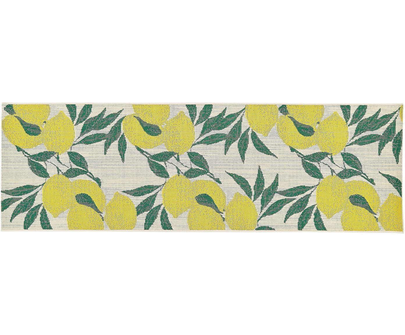 In- & outdoor vloerkleed Exotic, Bovenzijde: polypropyleen, Onderzijde: polyester, Crèmewit, geel, groen, 80 x 250 cm