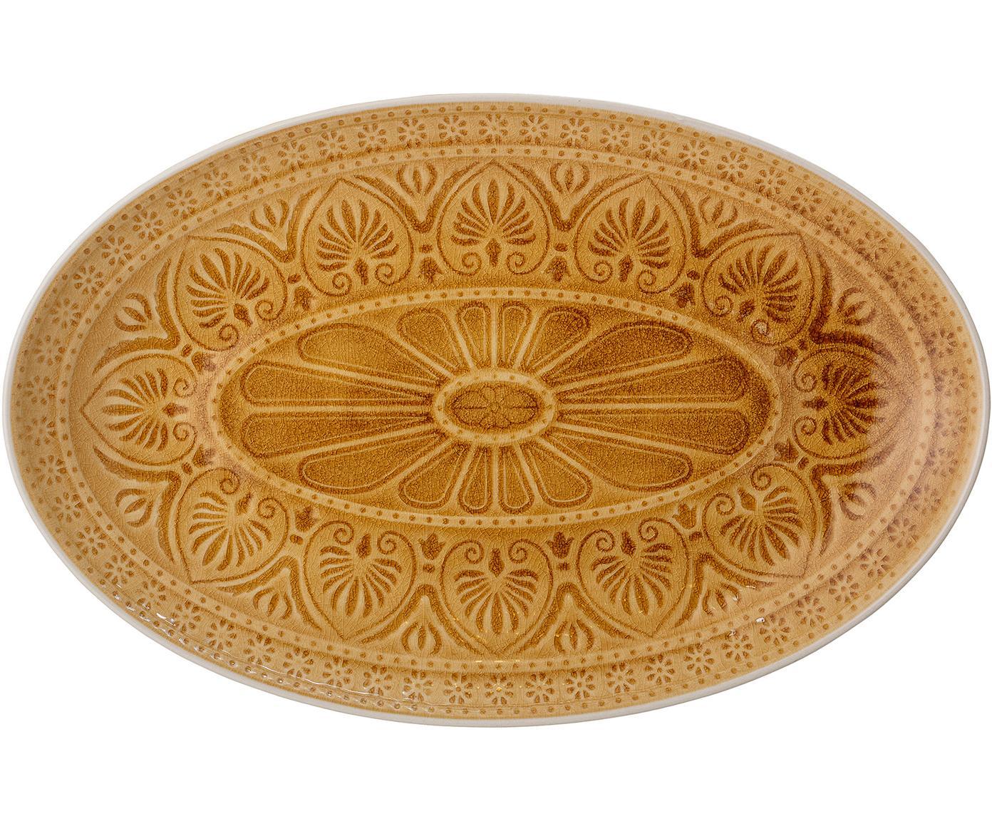 Ręcznie wykonany półmisek Rani, Kamionka, Żółty, S 39 x G 25 cm