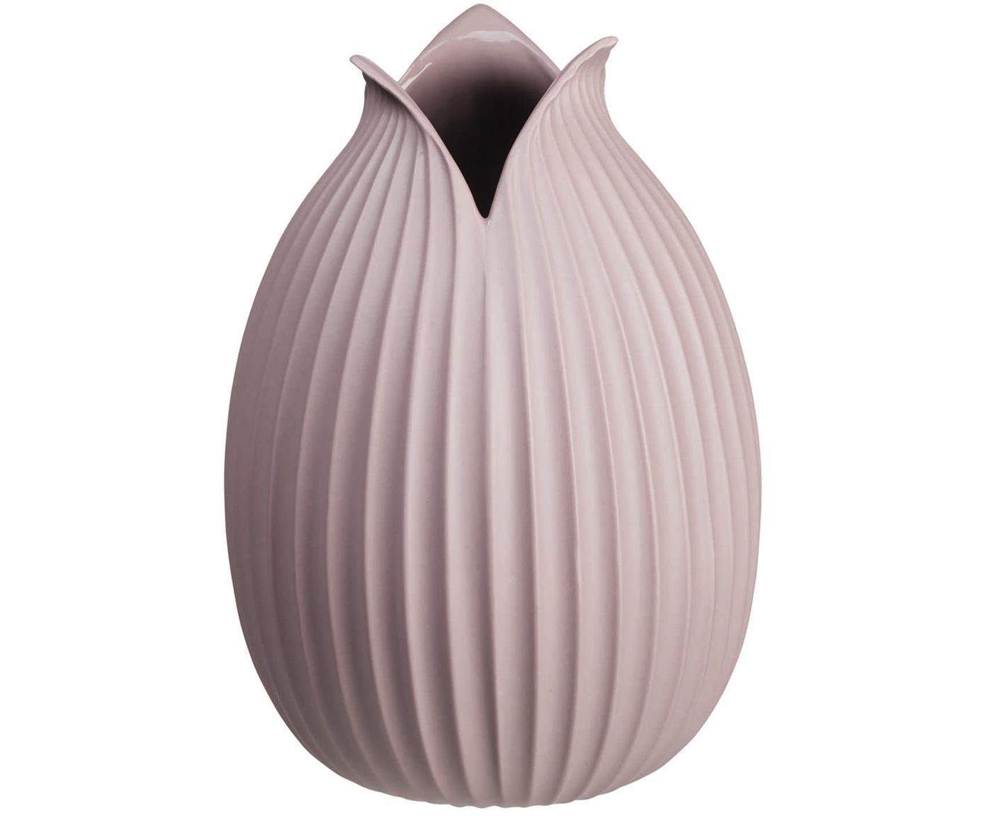 Jarrón artesanal de porcelana Yoko, Porcelana, Rosa, Ø 15 x Al 22 cm