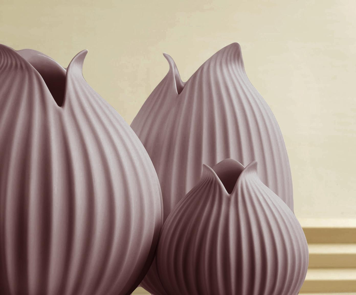 Handgefertigte Vase Yoko aus Porzellan, Porzellan, Rosa, Ø 19 x H 18 cm