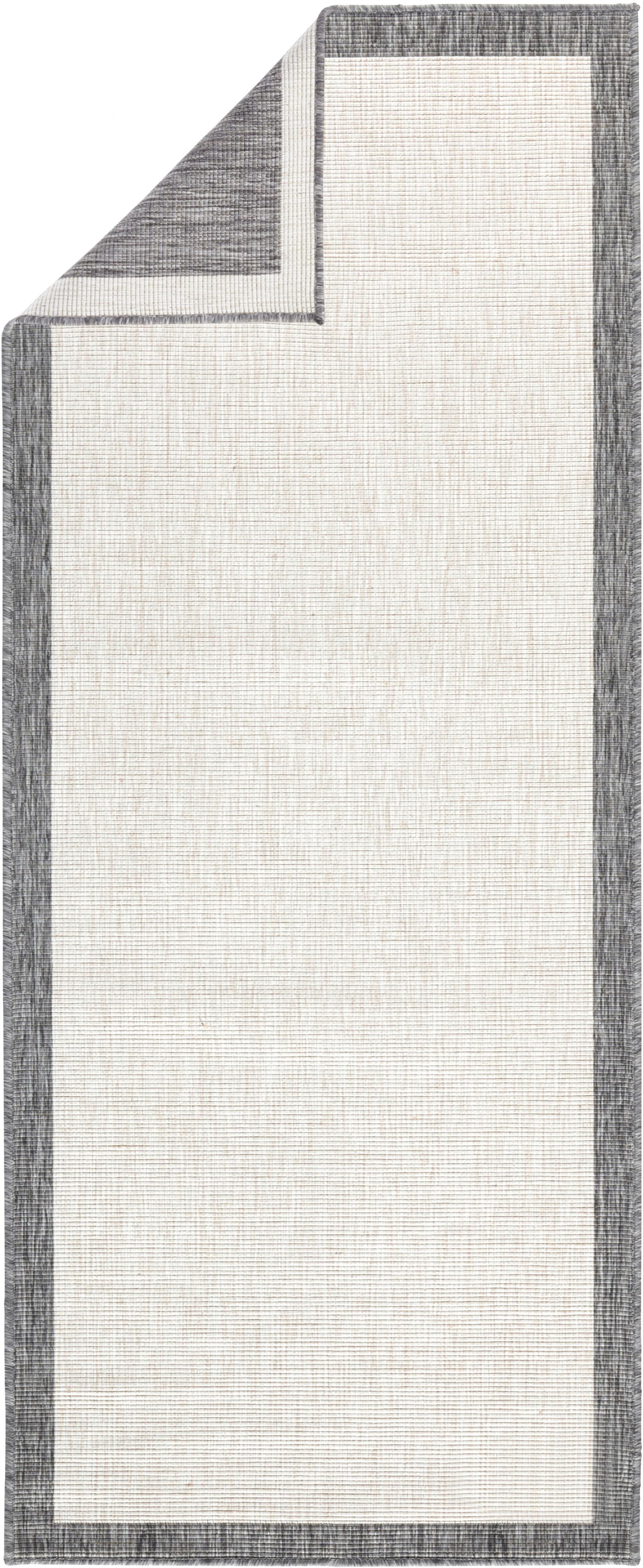 Passatoia reversibile da interno-esterno Panama, Grigio, crema, Larg. 80 x Lung. 250 cm