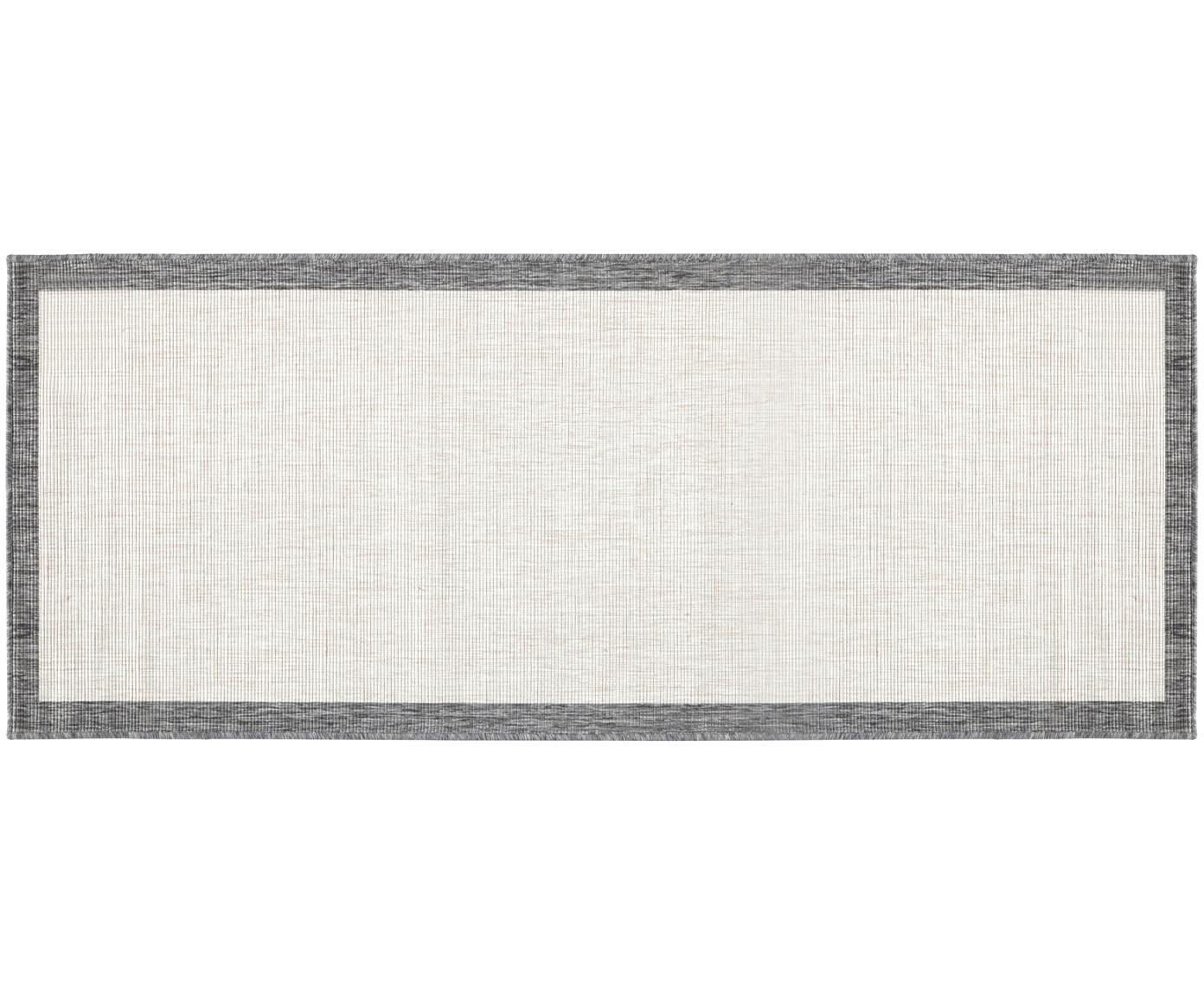 Dubbelzijdige in- & outdoor loper Panama, Grijs, crèmekleurig, 80 x 250 cm