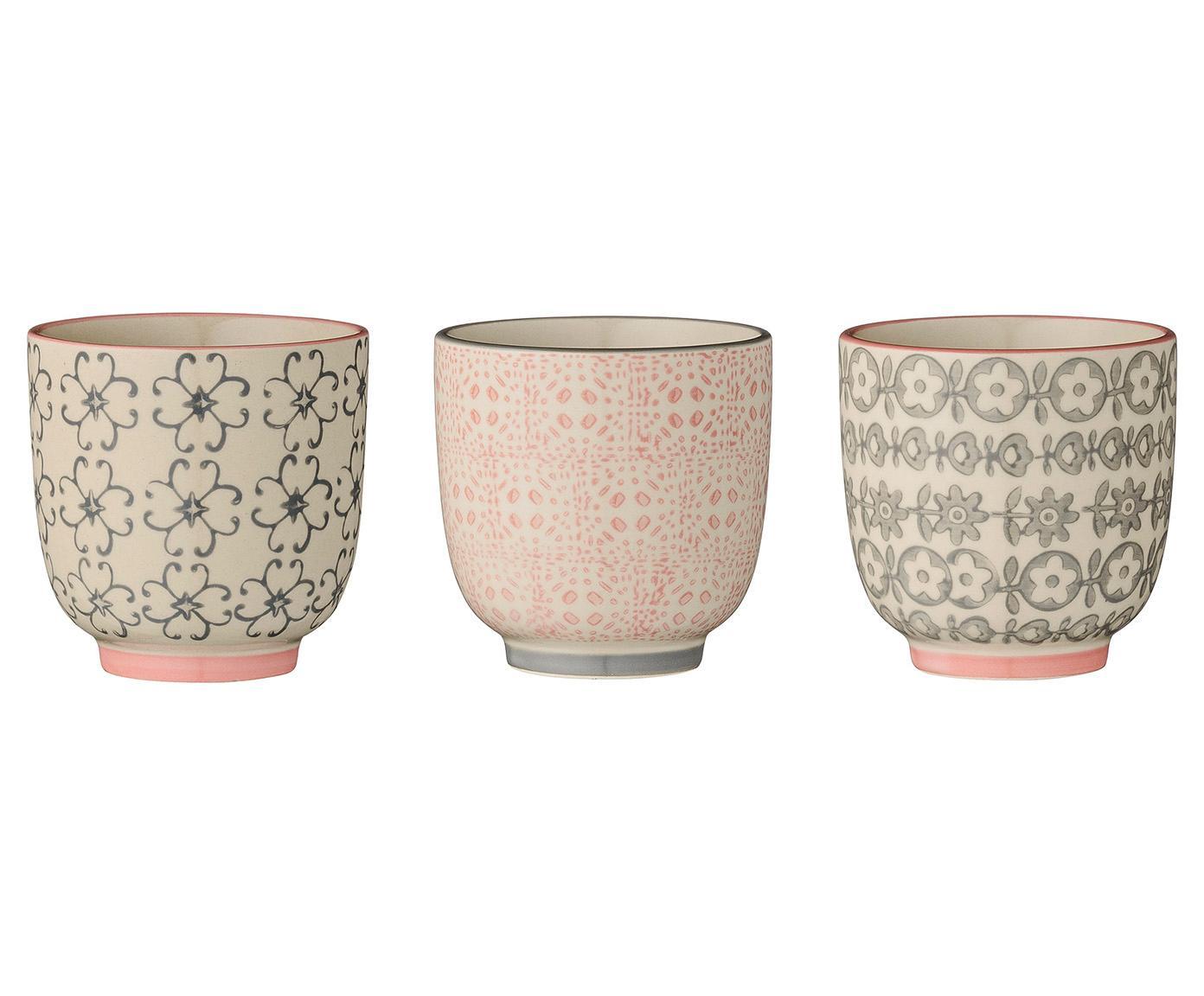 Espressobecher Cécile mit kleinem Muster, 3er-Set, Keramik, Rosa, Grau, Ø 7 x H 7 cm