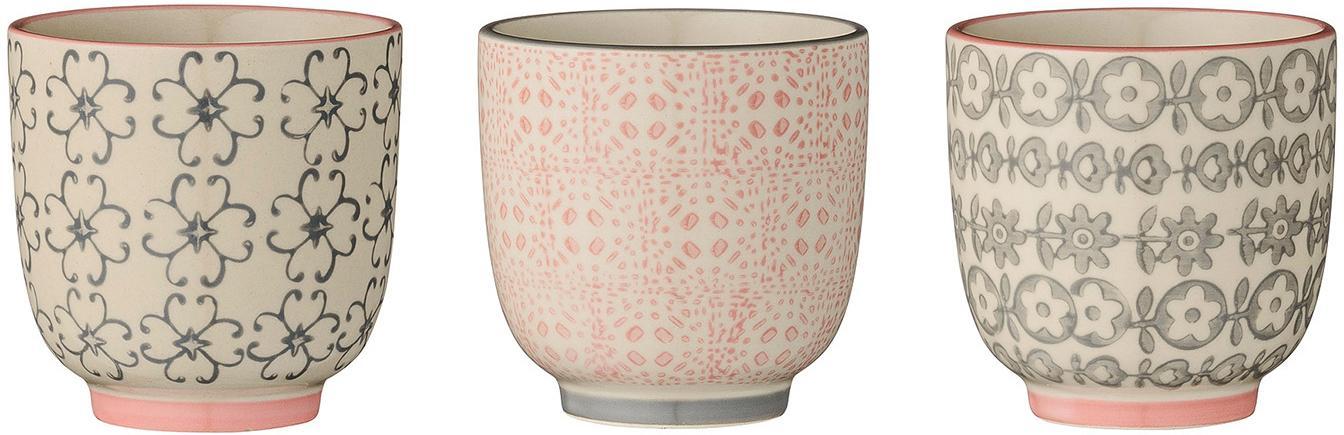 Set di 3 tazze senza manico Cécile, Ceramica, Rosa, grigio, Ø 7 x Alt. 7 cm