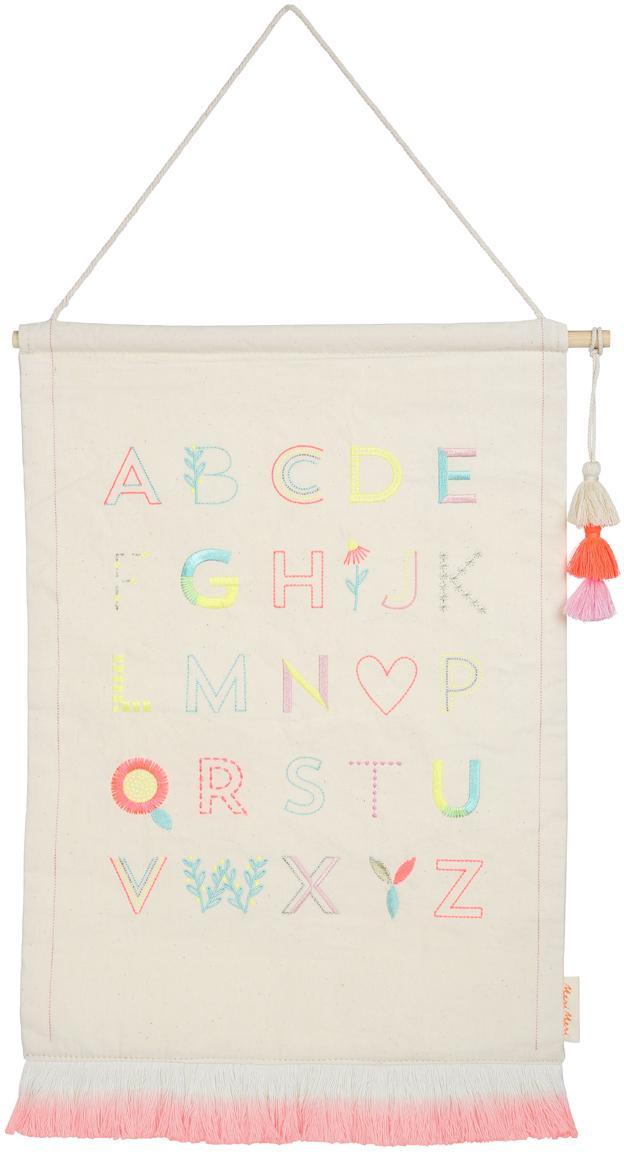 Wandobject Alphabet, Katoen, Beige, roze, blauw, geel, 36 x 50 cm