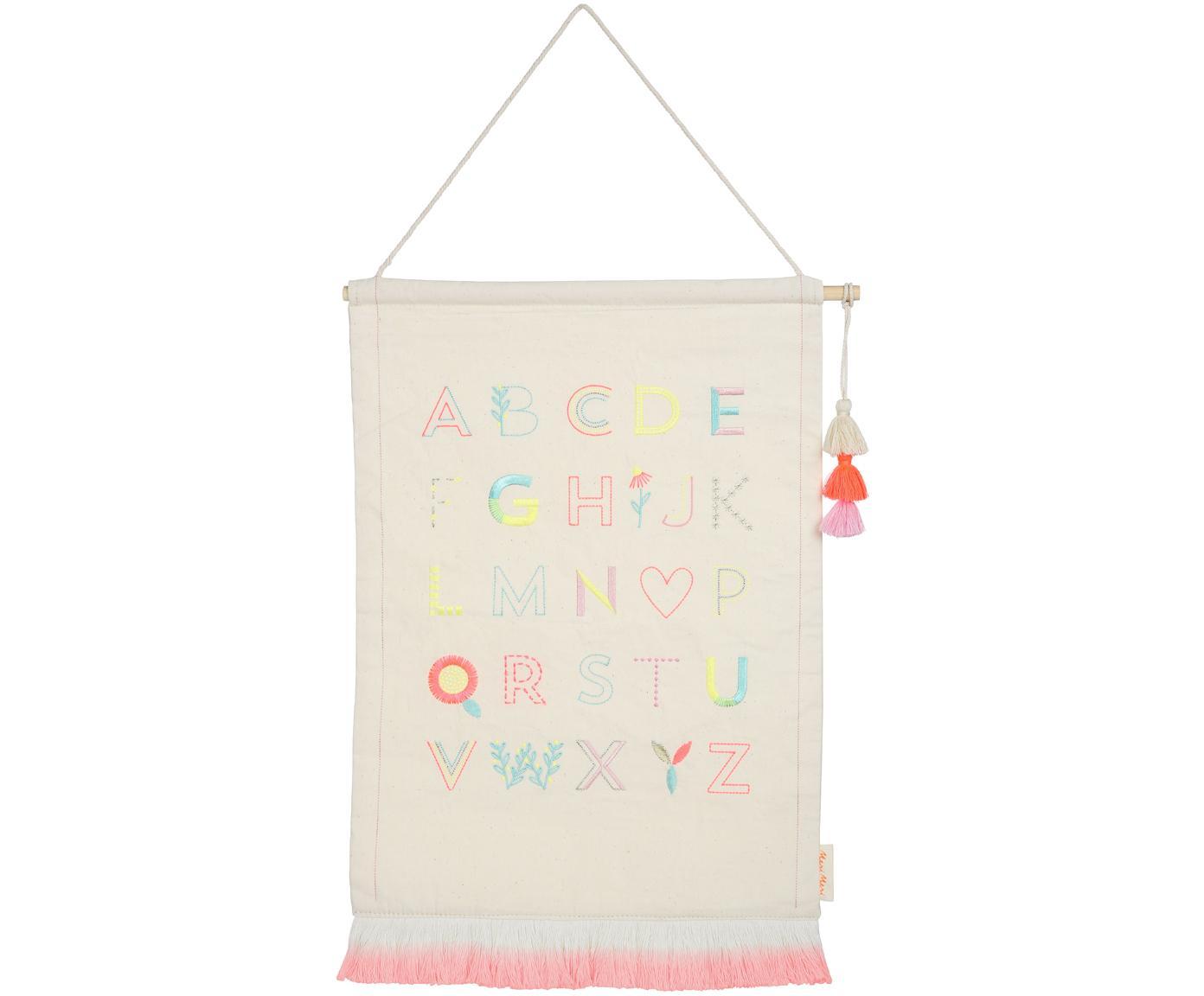 Dekoracja ścienna Alphabet, Bawełna, Beżowy, blady różowy, niebieski, żółty, S 36 x W 50 cm