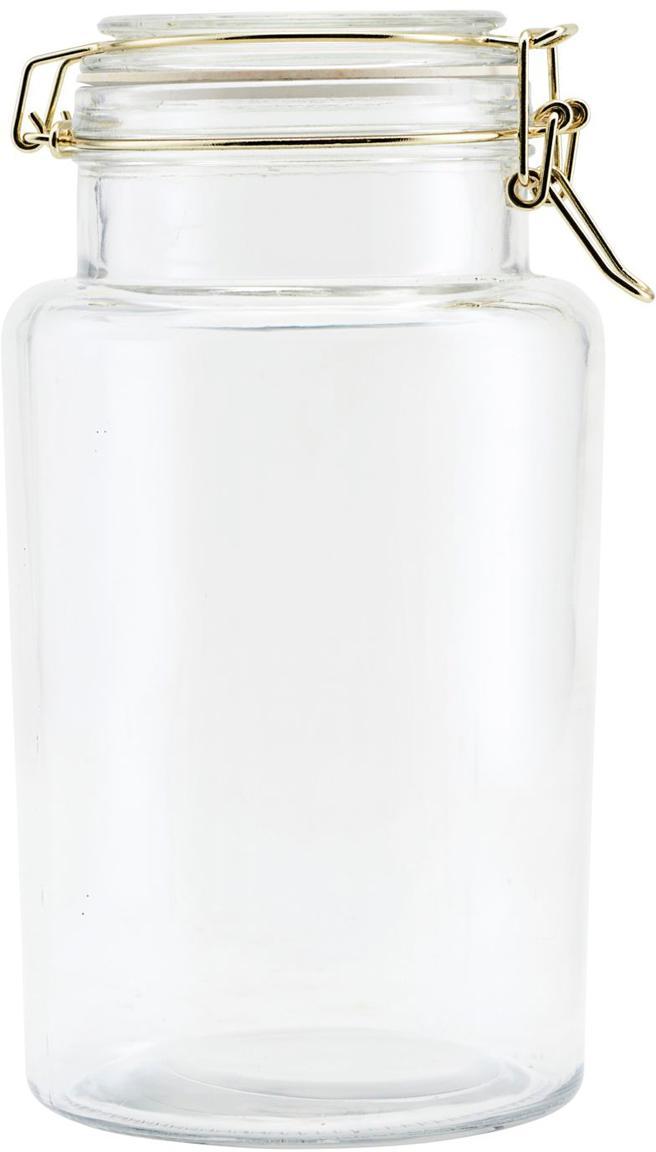 Contenitore con applicazioni dorate Vario, Vetro, acciaio inossidabile, Trasparente, dorato, Ø 13 x Alt. 24 cm