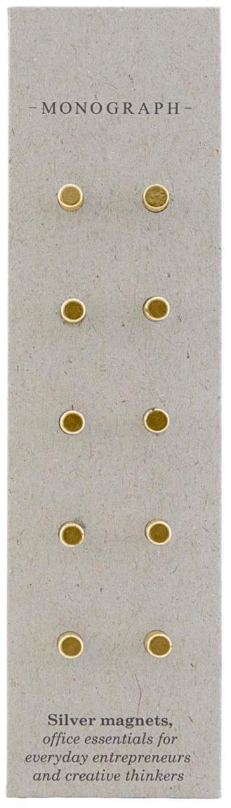 Magnete Neo, 10 pz., Metallo rivestito e magnetico, Ottonato, Ø 0,4 x Prof. 1 cm
