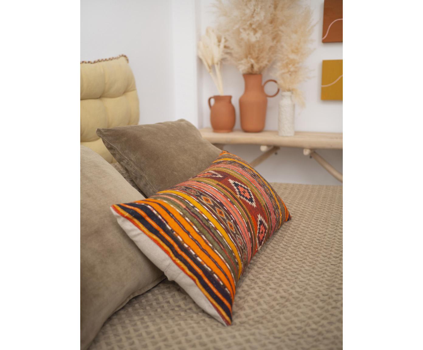 Housse de coussin rectangulaire ethnique Kusa, Multicolore