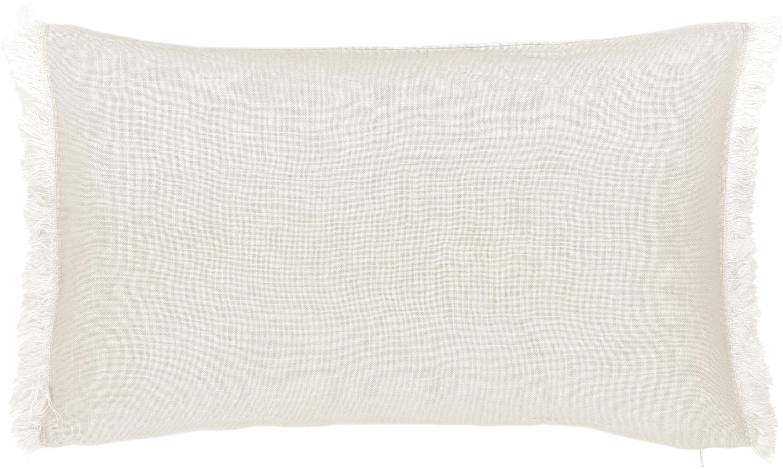 Linnen kussenhoes Luana in lichtbeige met franjes, 100% linnen, Beige, 30 x 50 cm