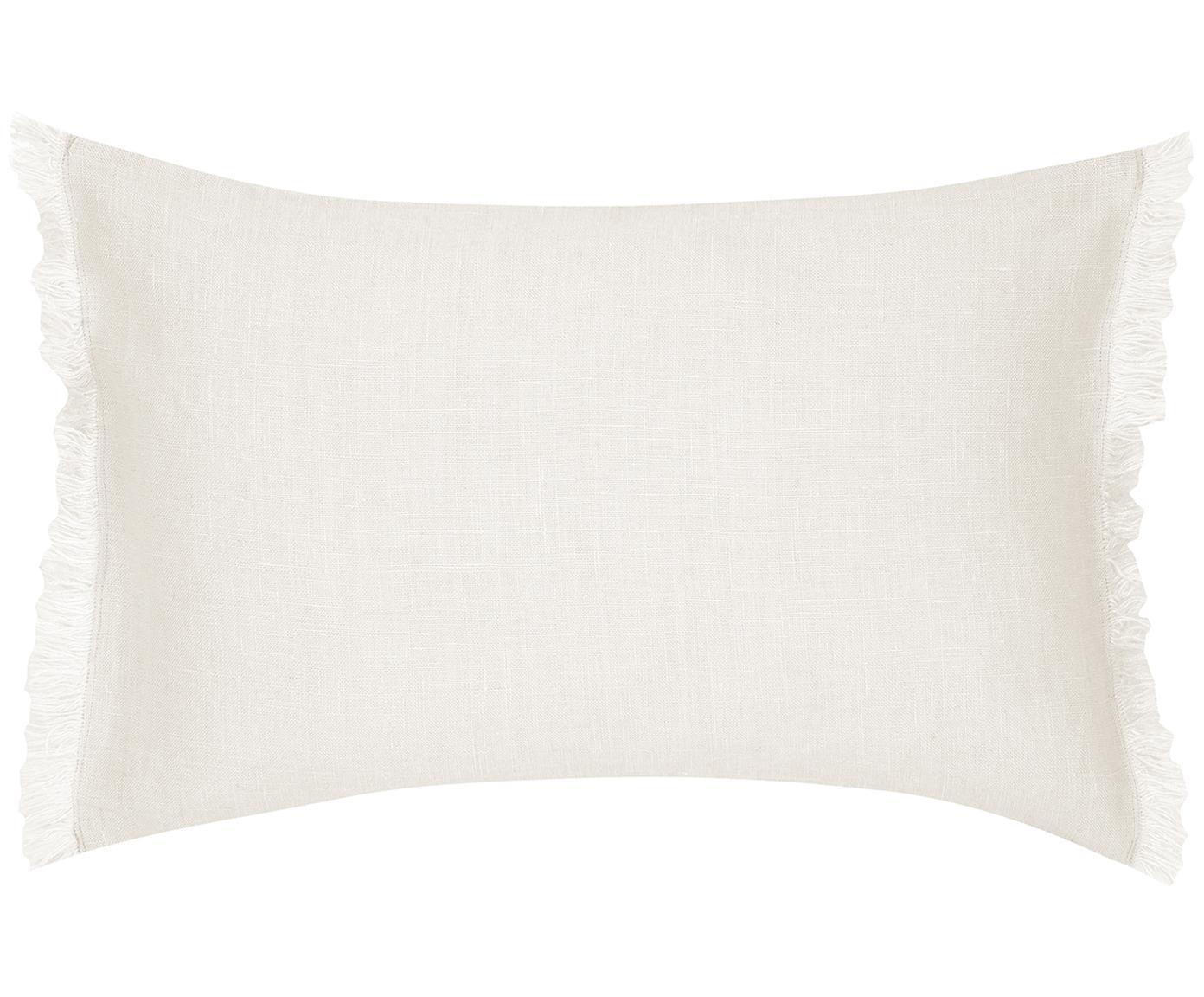 Leinen-Kissenhülle Luana mit Fransen, 100% Leinen, Beige, 30 x 50 cm
