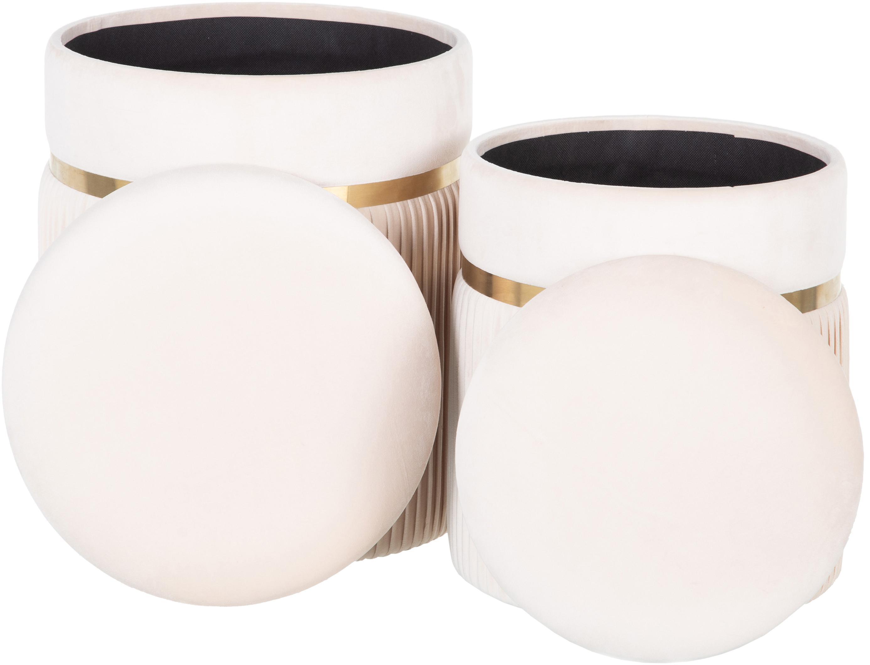 Komplet puf z miejscem do przechowywania Chest, 2 elem., Tapicerka: poliester (aksamit), Odcienie kremowego, Komplet z różnymi rozmiarami