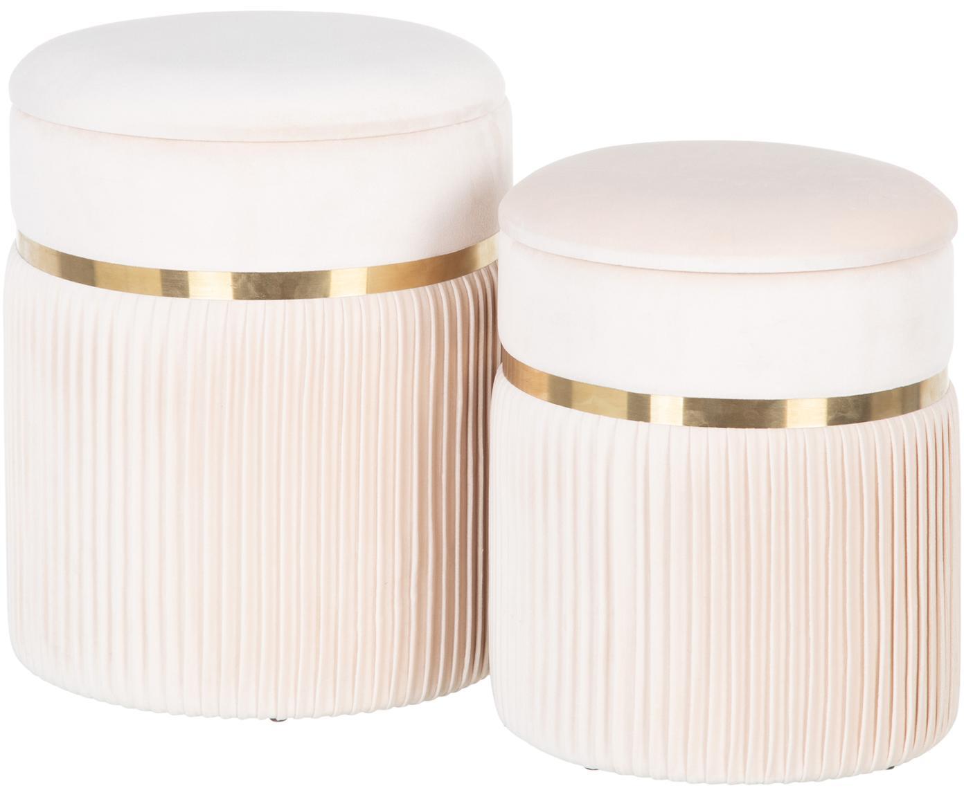 Set 2 pouf contenitori in velluto Chest, Rivestimento: poliestere (velluto), Sottostruttura: legno, Crema, Diverse dimensioni
