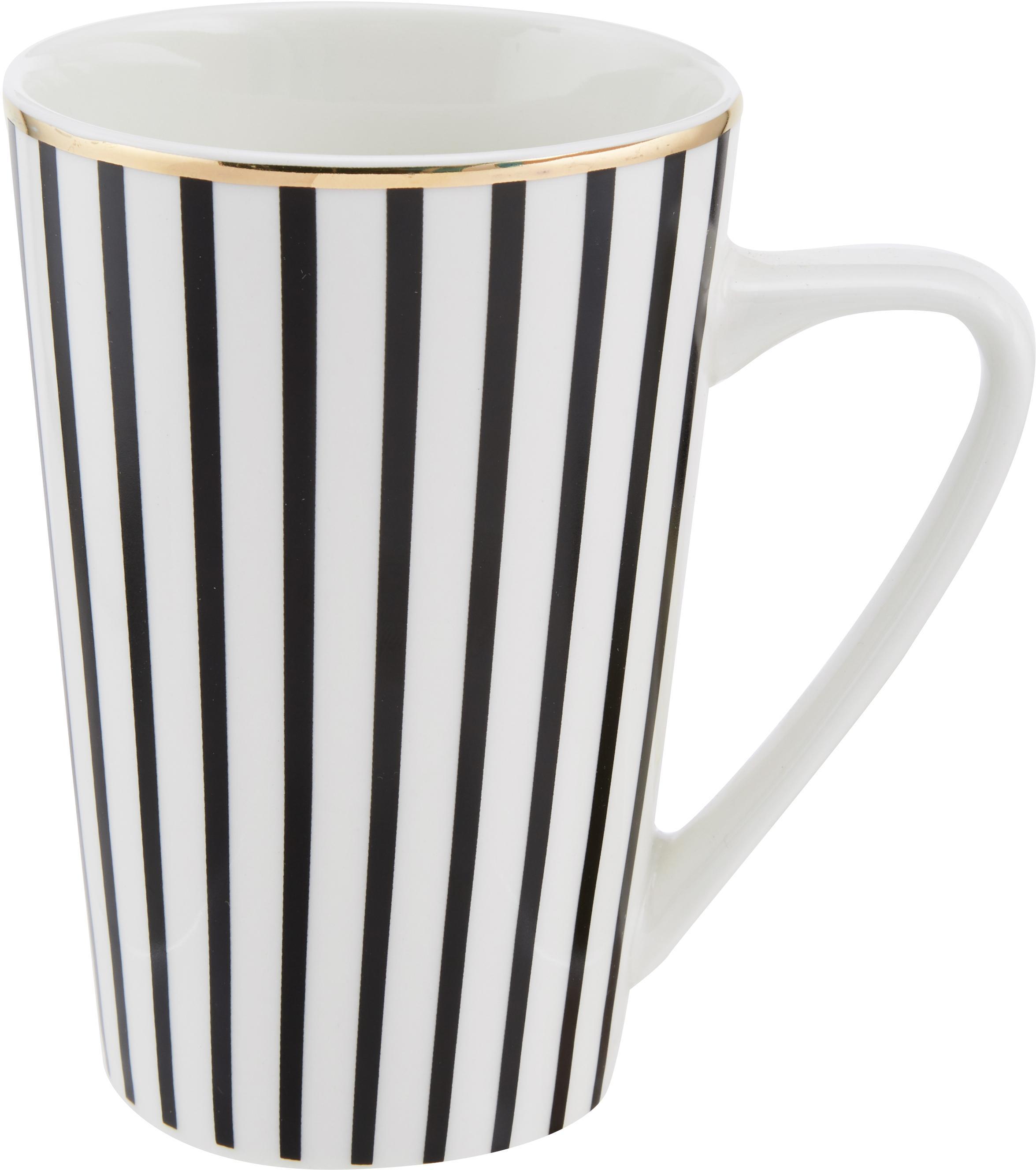 Tazas grandes PlutoLoft, 4uds., Porcelana, Negro, blanco, dorado, Ø 9 x Al 13 cm