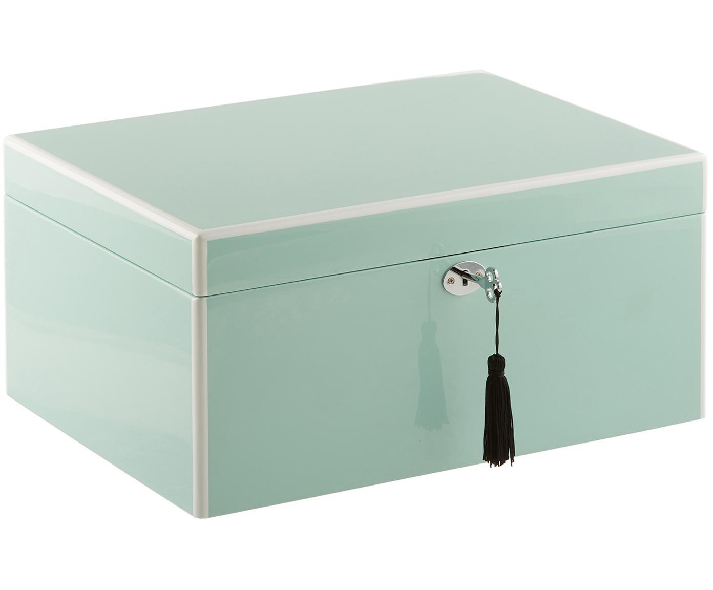 Sieradendoos Juliana met spiegel, Doos: gecoat MDF, Onderzijde: fluweel om het meubilair , Turquoise met witte rand, 31 x 23 cm